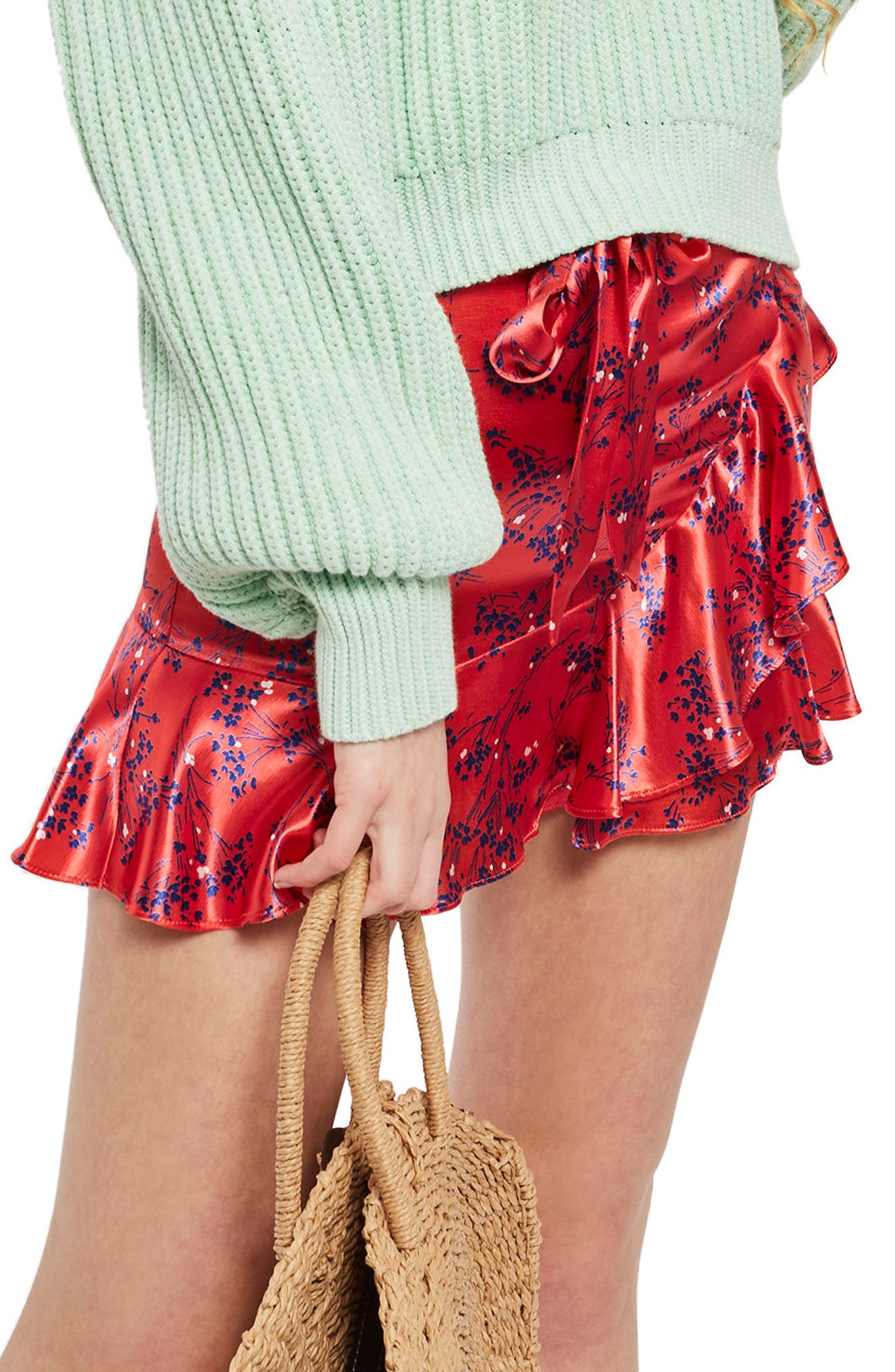 Floral Print Miniskirt,                         Main,                         color, Red Multi
