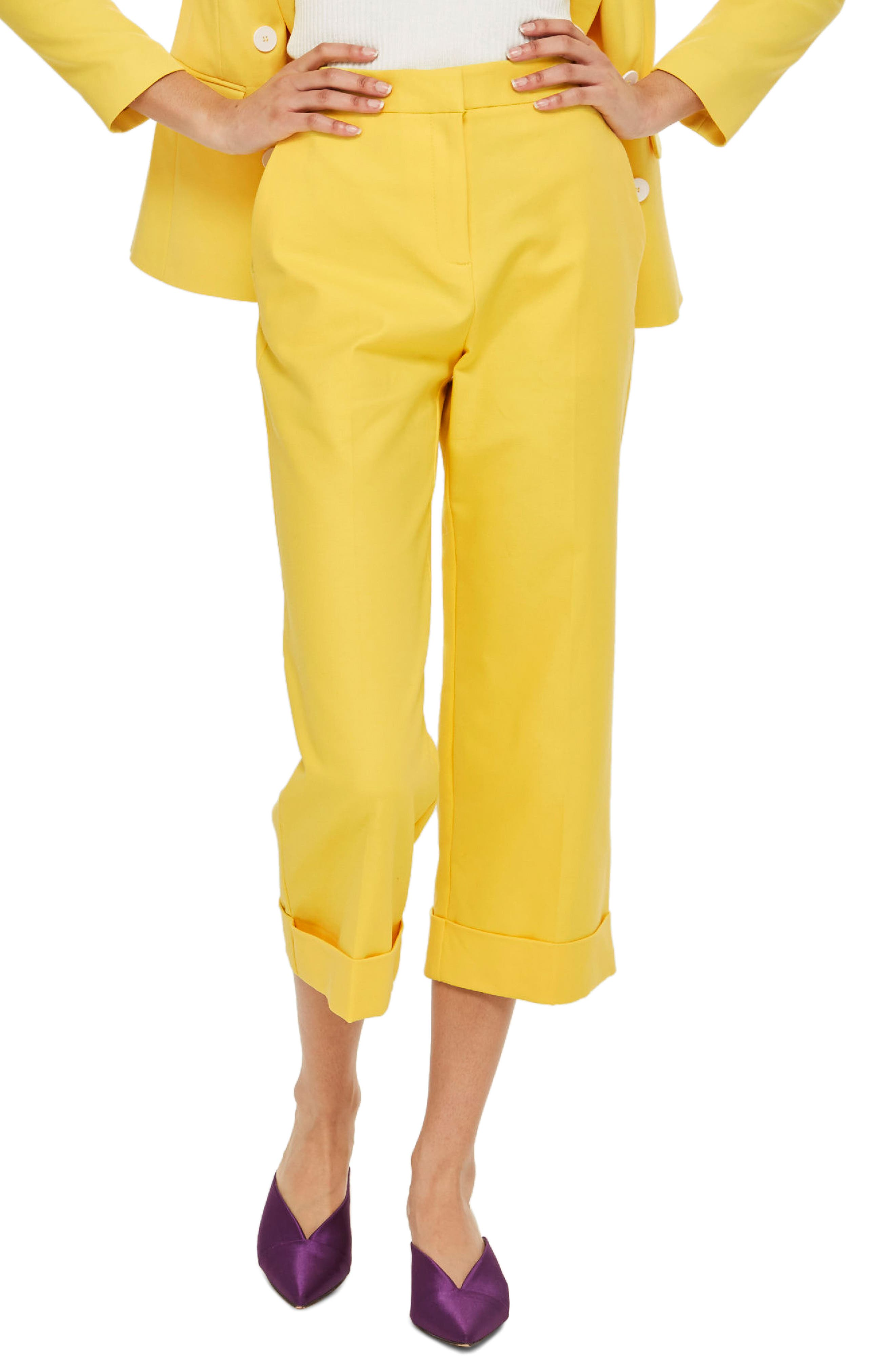 Milly Crop Suit Trousers,                             Main thumbnail 1, color,                             Yellow