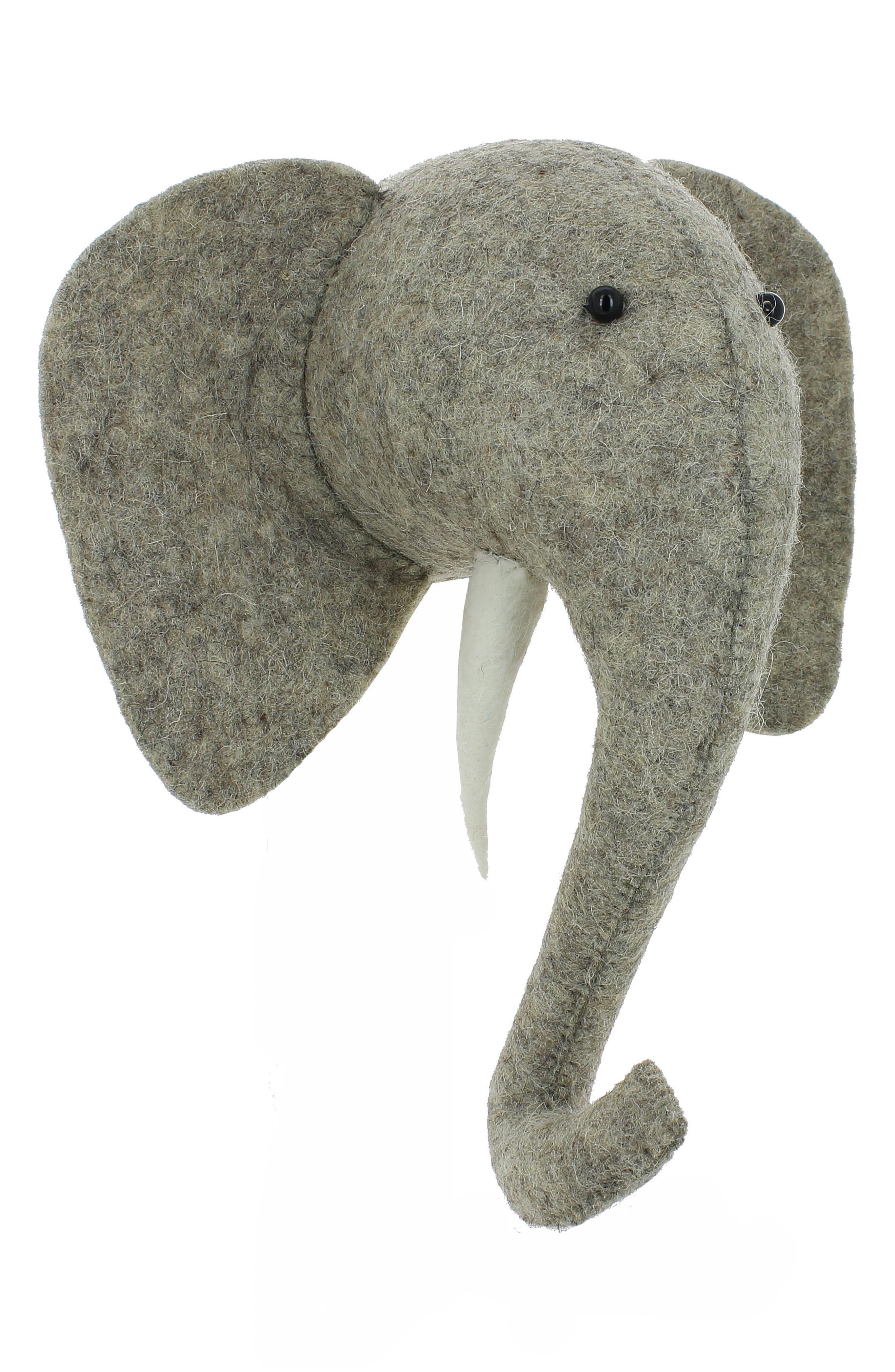 Mini Elephant Head Wall Art,                             Alternate thumbnail 4, color,                             Grey