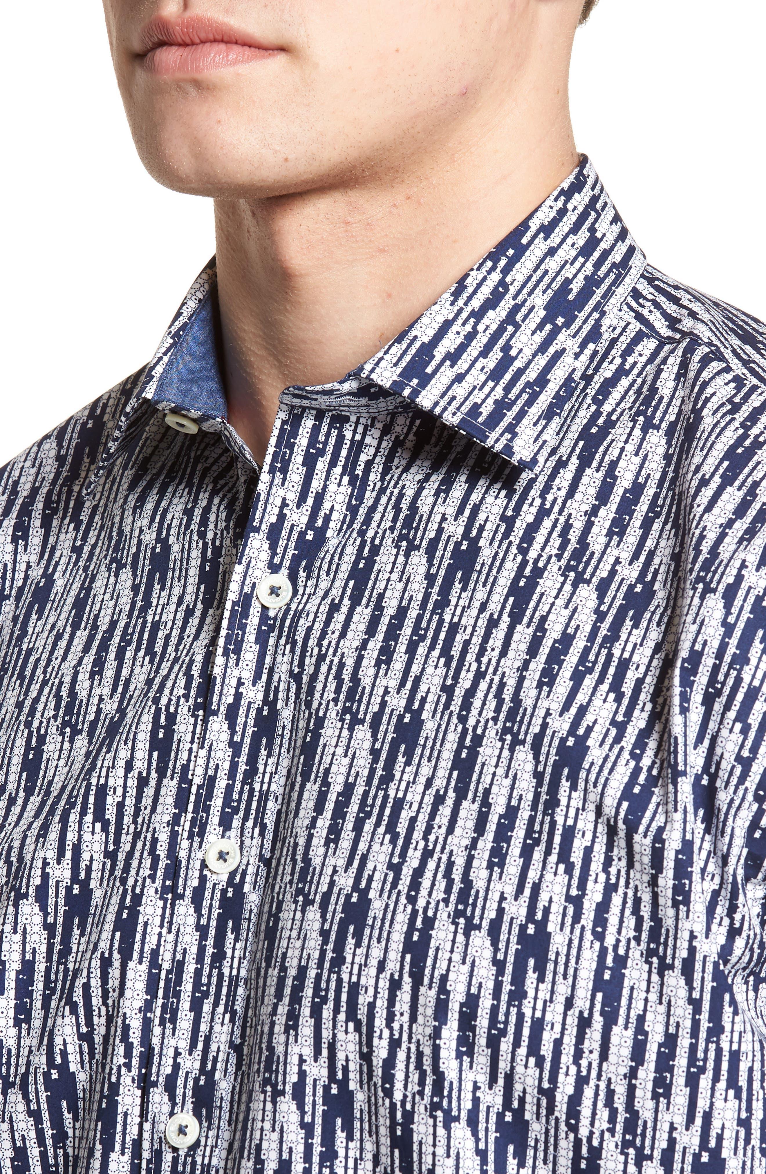 Classic Fit Dots Circles & Spaces Sport Shirt,                             Alternate thumbnail 4, color,                             Navy