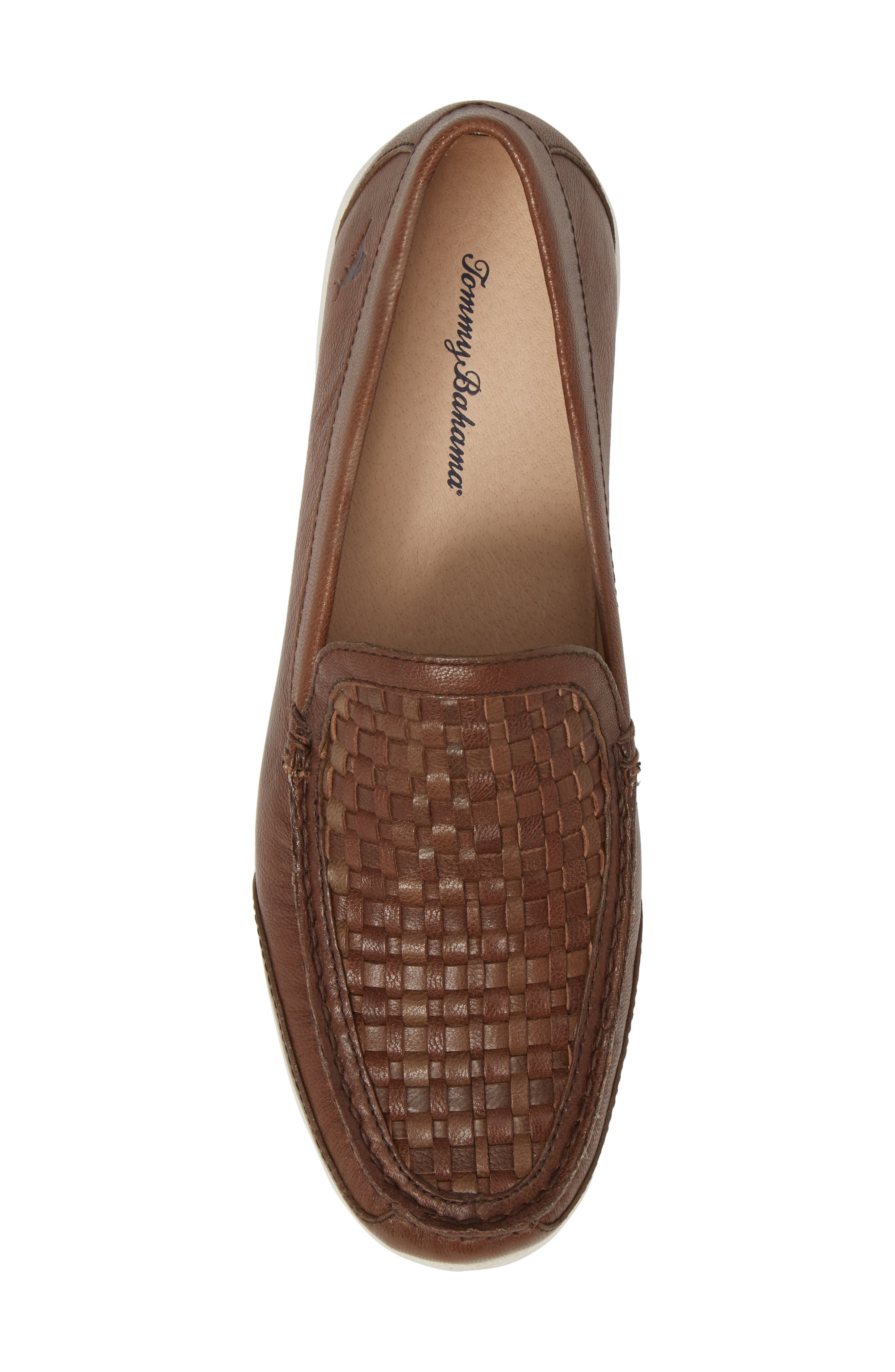 Taormina Woven Loafer,                             Alternate thumbnail 5, color,                             Dark Brown Leather