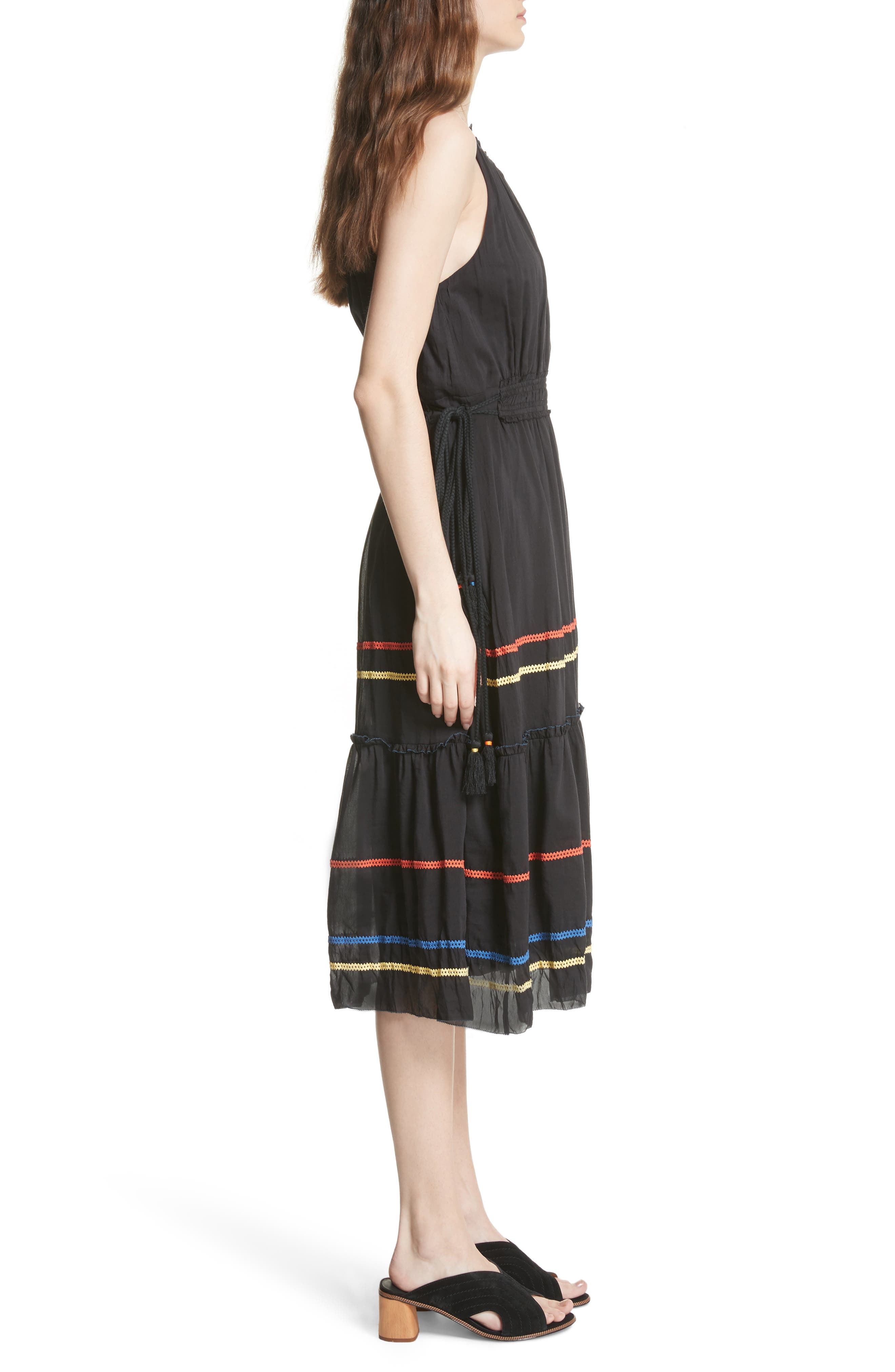 Danit Embroidered Stripe Cotton & Silk Dress,                             Alternate thumbnail 3, color,                             Caviar