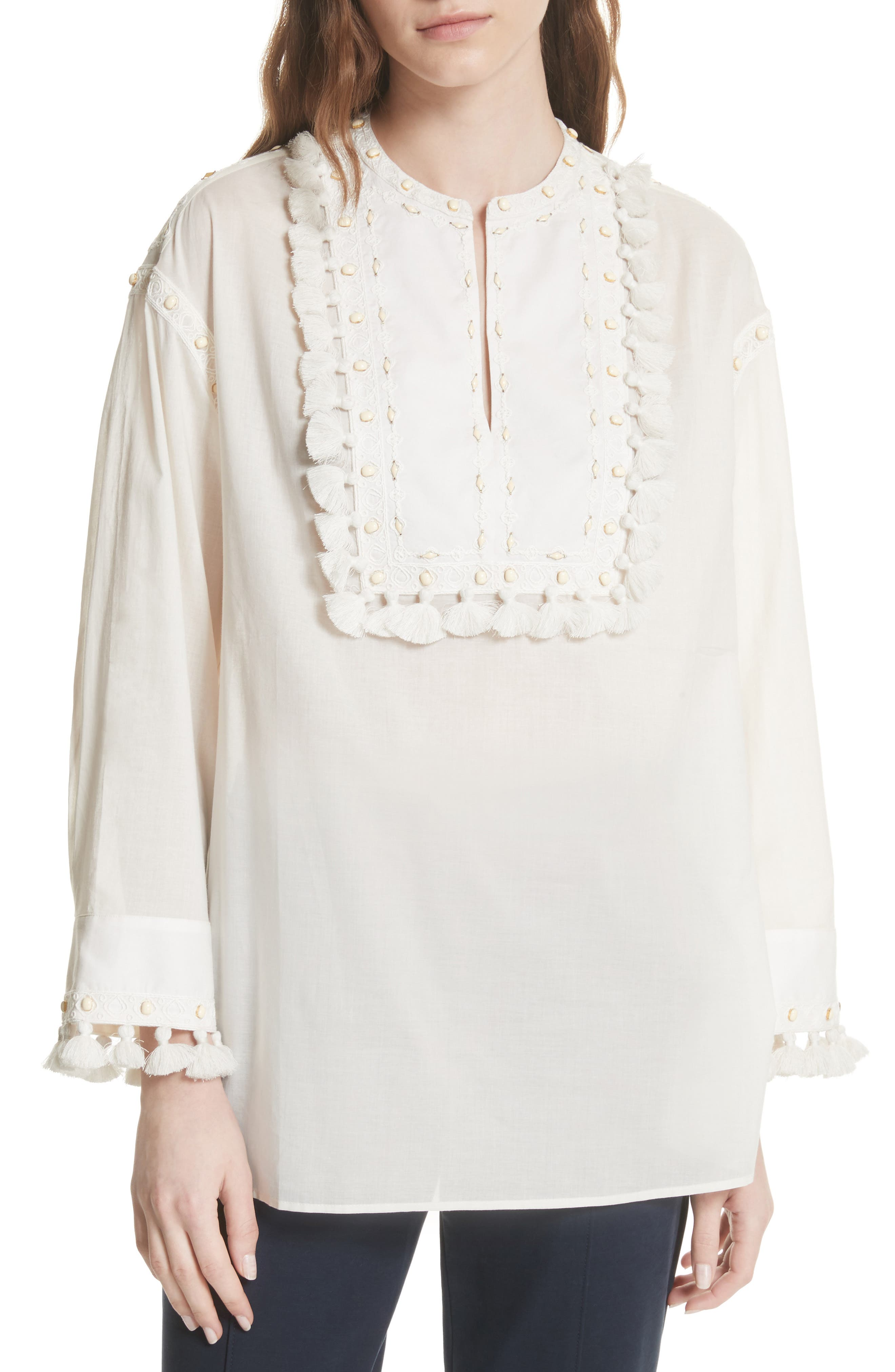 Lizzie Tassel Trim Tunic,                             Main thumbnail 1, color,                             New Ivory