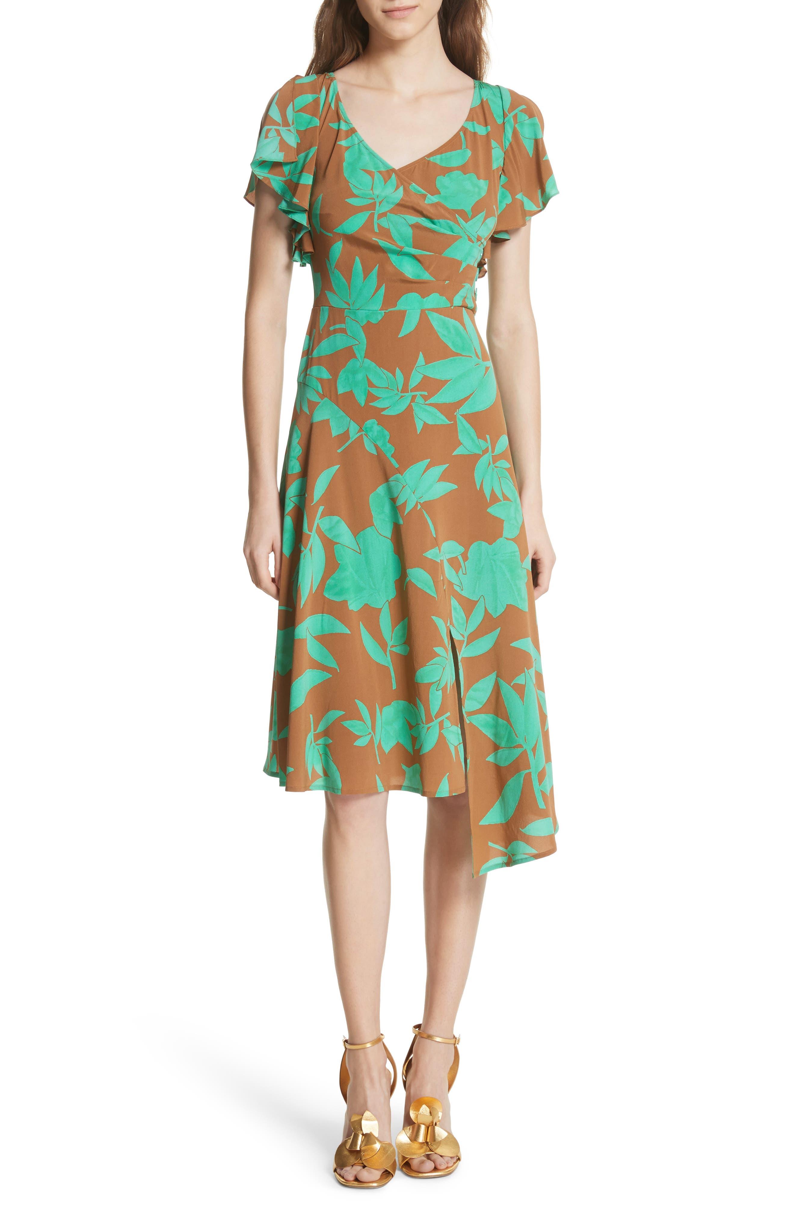 Asymmetrical Faux Wrap Dress,                         Main,                         color, Acorn Jade