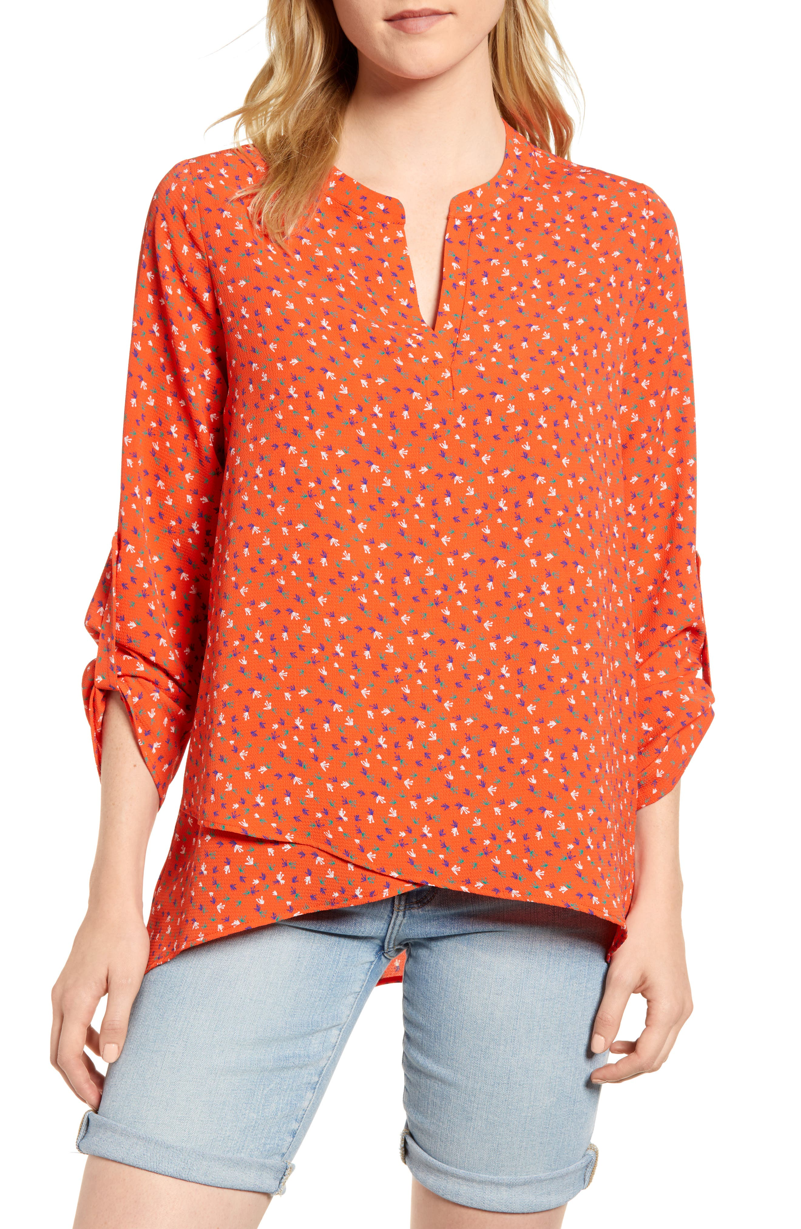 x Living in Yellow Erin Crossover Tunic,                         Main,                         color, Red Floral Print