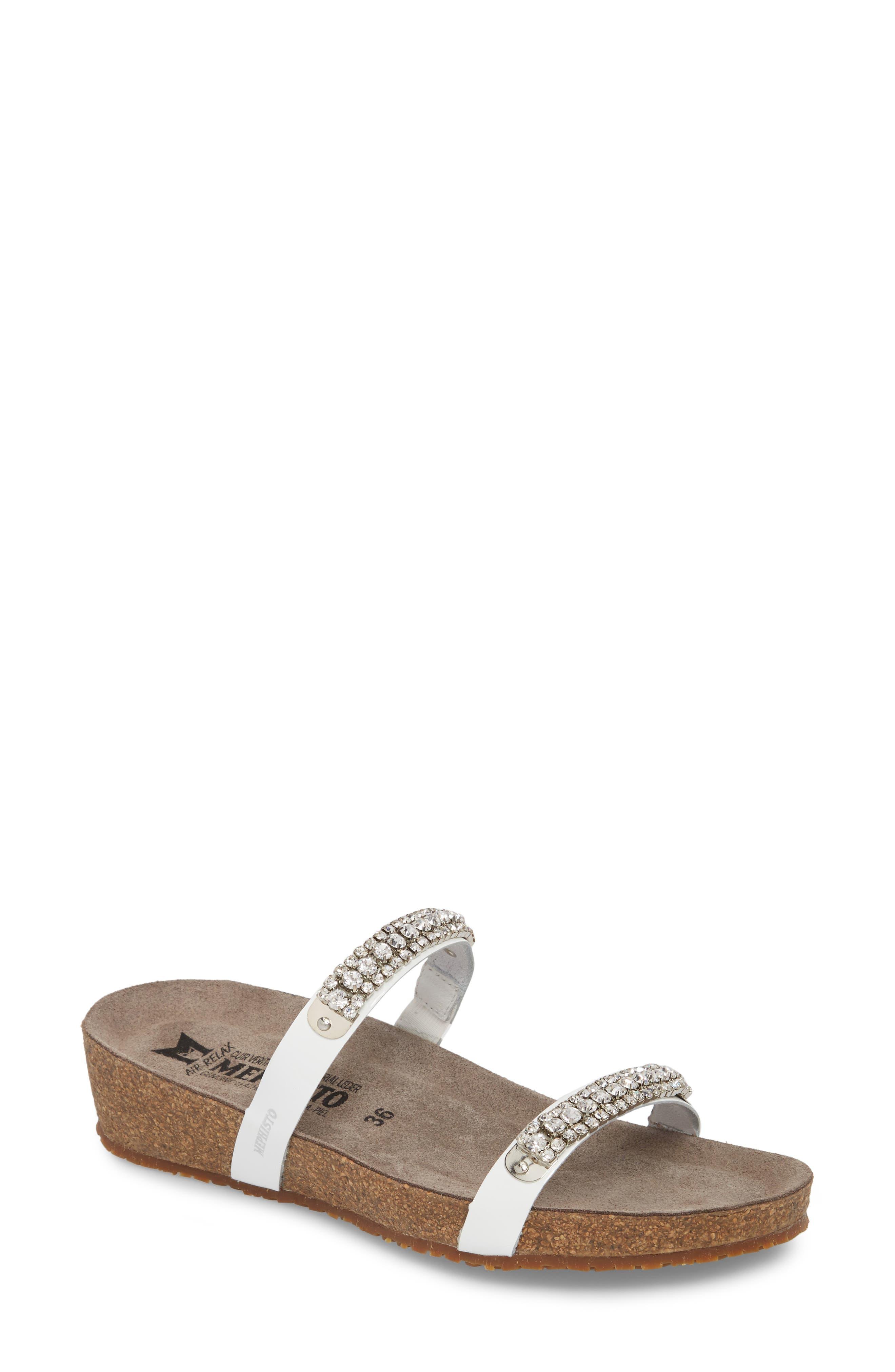 'Ivana' Crystal Embellished Slide Sandal,                             Main thumbnail 1, color,                             White Patent