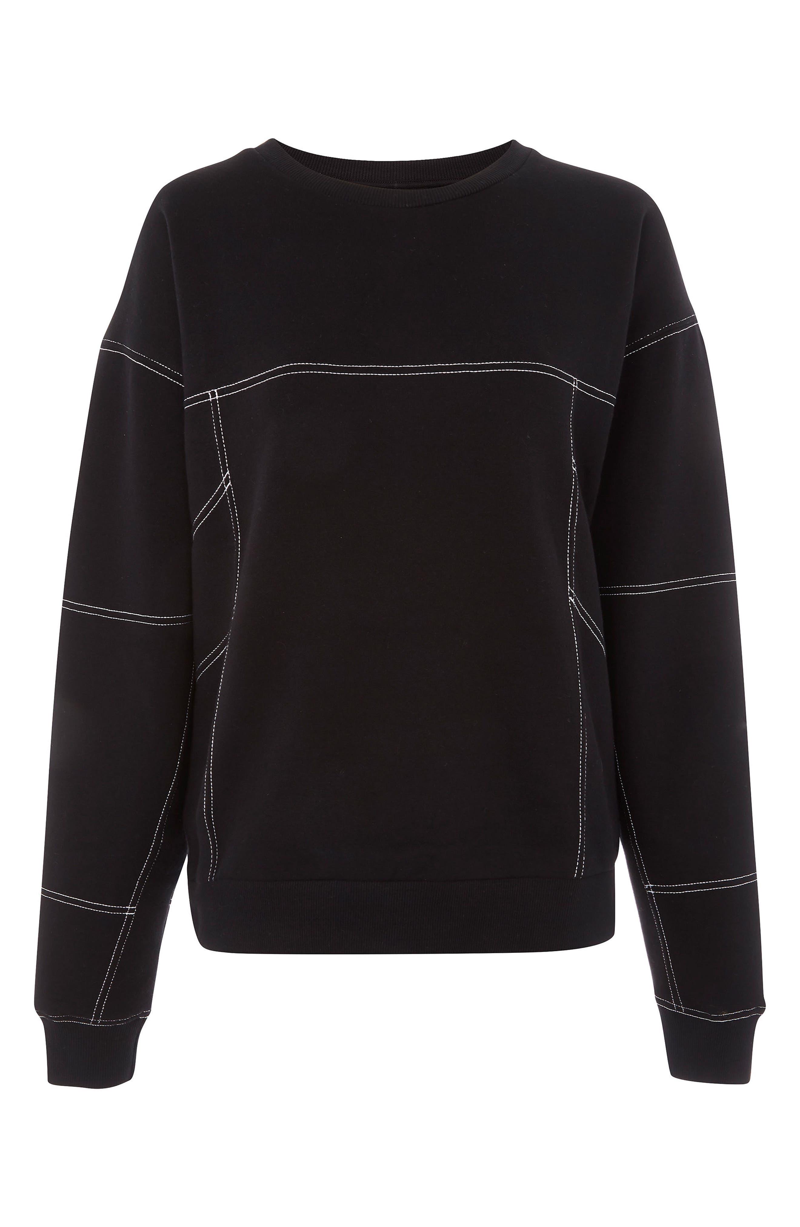 Stab Stitch Detail Sweatshirt,                             Alternate thumbnail 4, color,                             Black