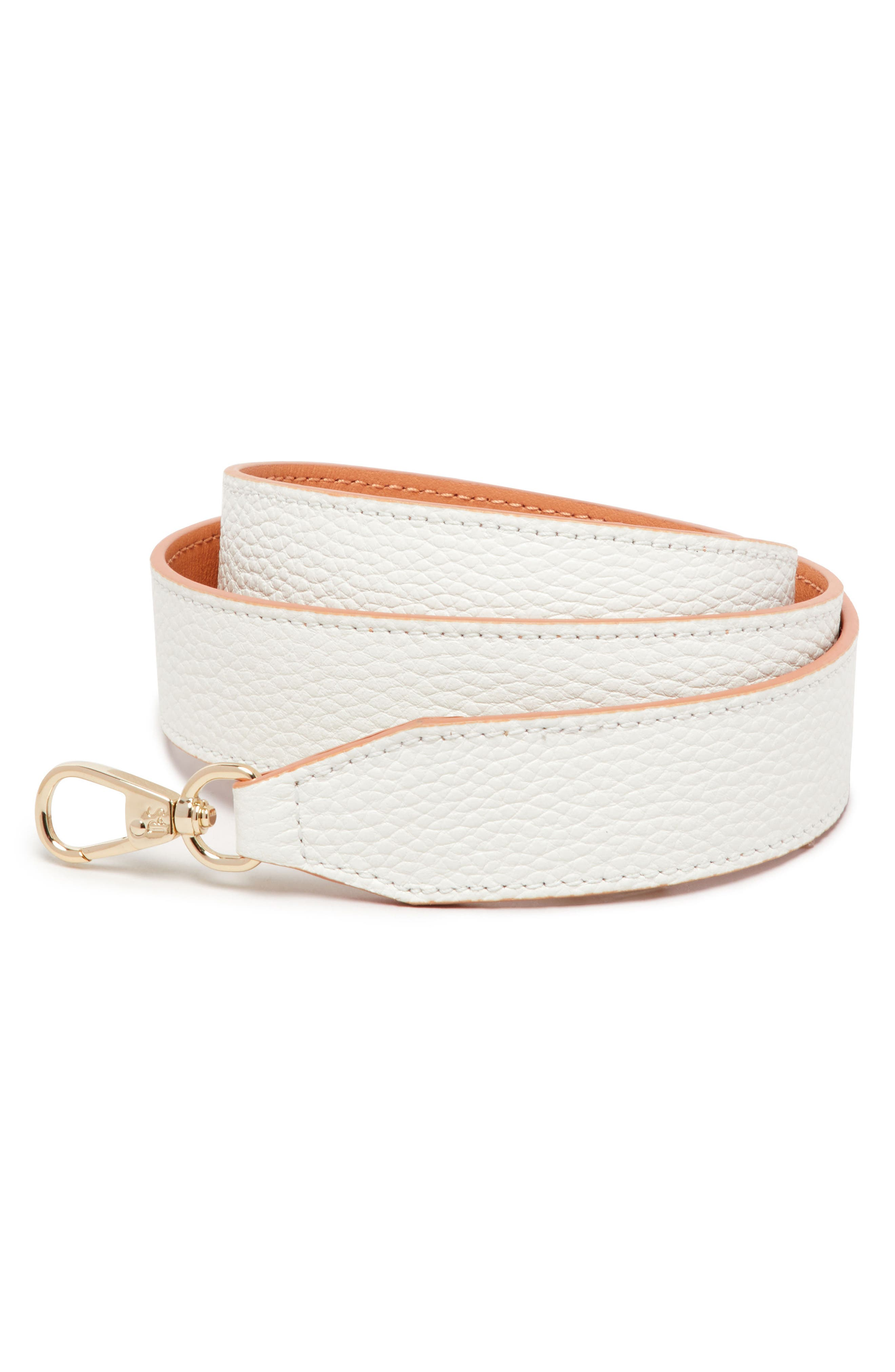 Wide Pebbled Leather Strap,                             Main thumbnail 1, color,                             Lily/ Apricot