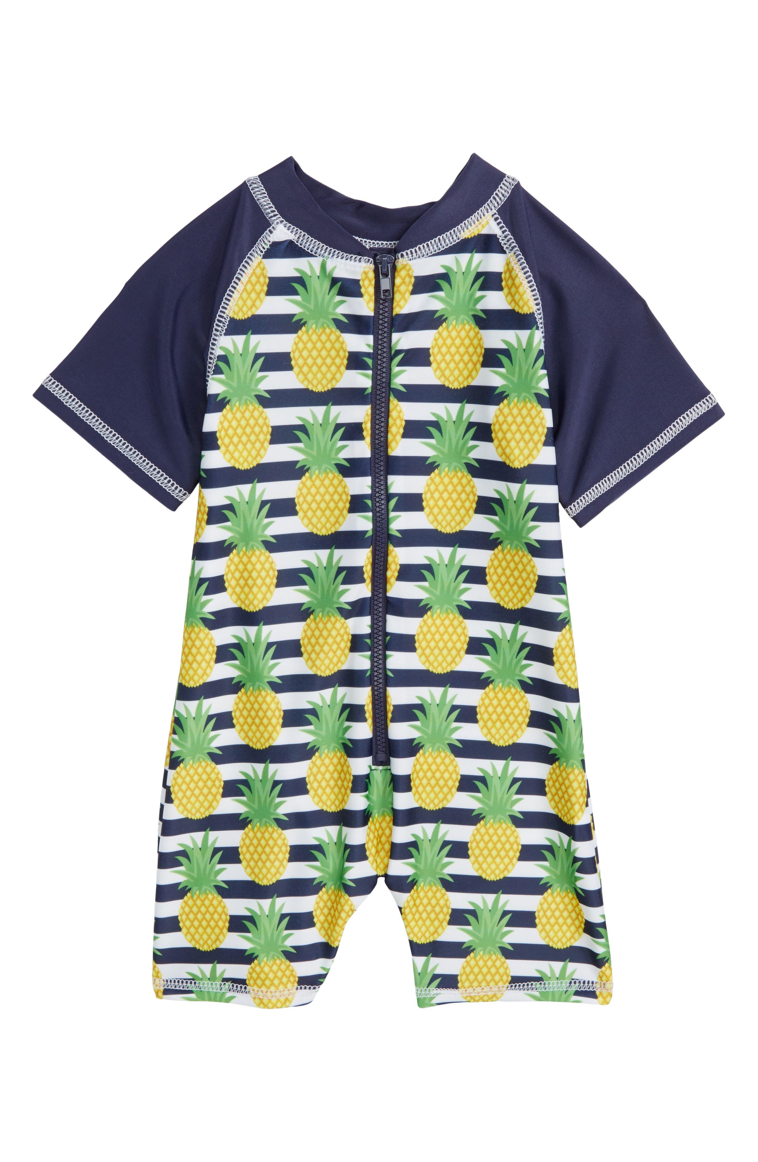 Preppy Pineapples One-Piece Rashguard Swimsuit,                             Main thumbnail 1, color,                             Blue Multi