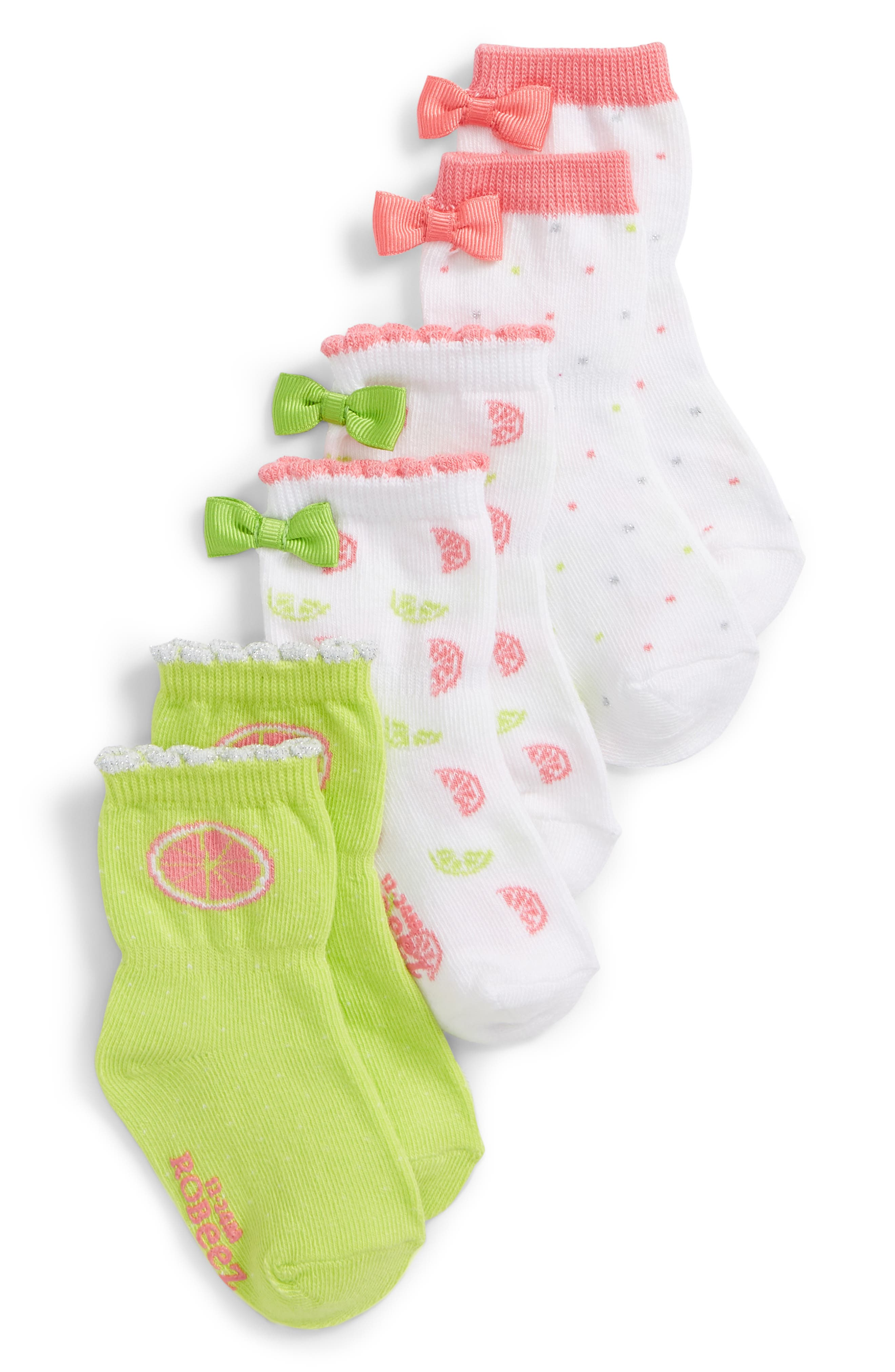 Citrus 3-Pack Socks,                         Main,                         color, Citron/ Pink/ White