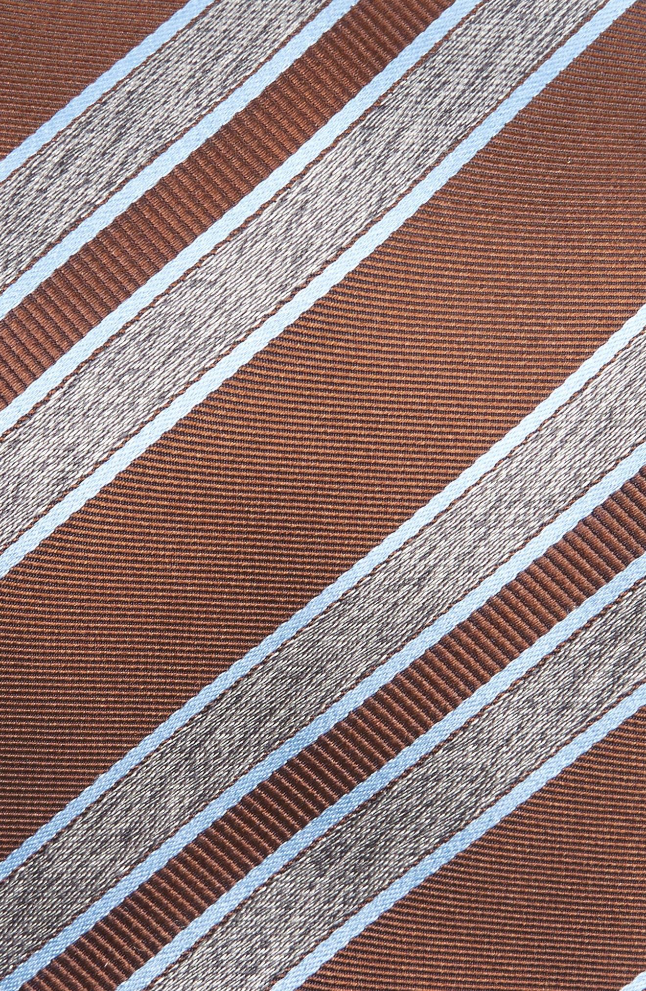 Stripe Silk Tie,                             Alternate thumbnail 2, color,                             Brown/ Grey