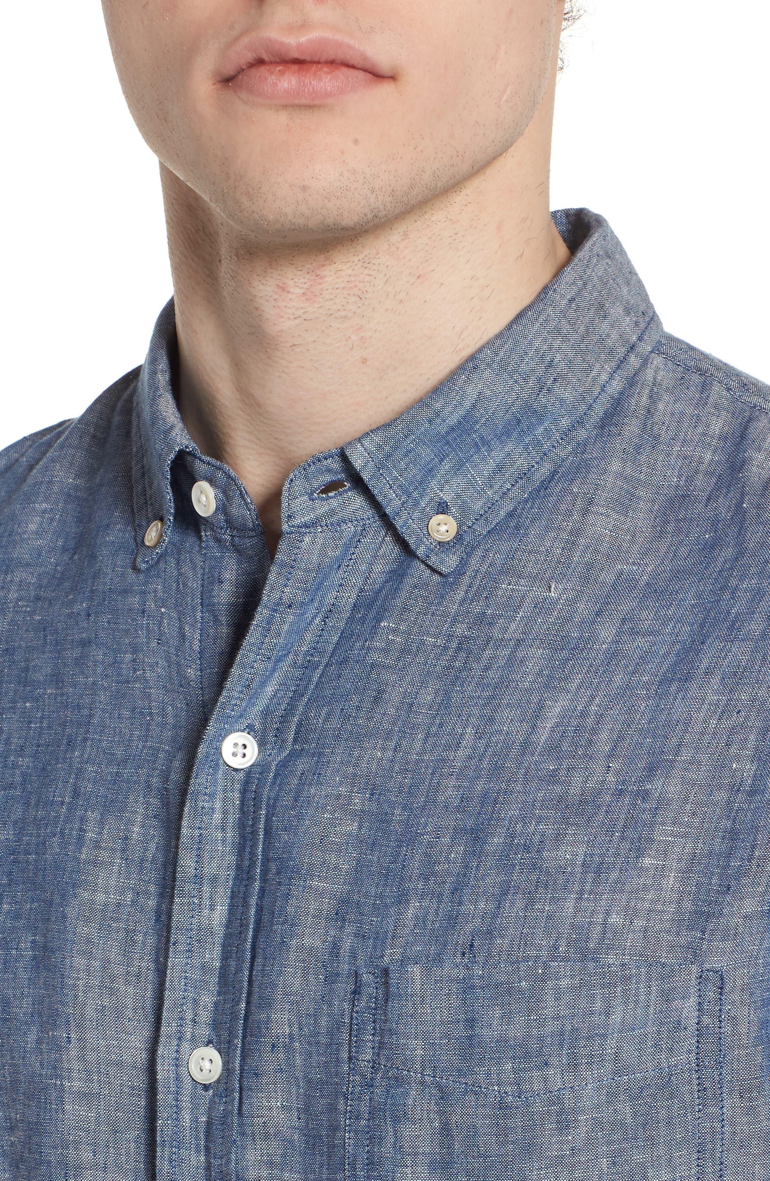 Bennett Linen Sport Shirt,                             Alternate thumbnail 4, color,                             Chambray Blue