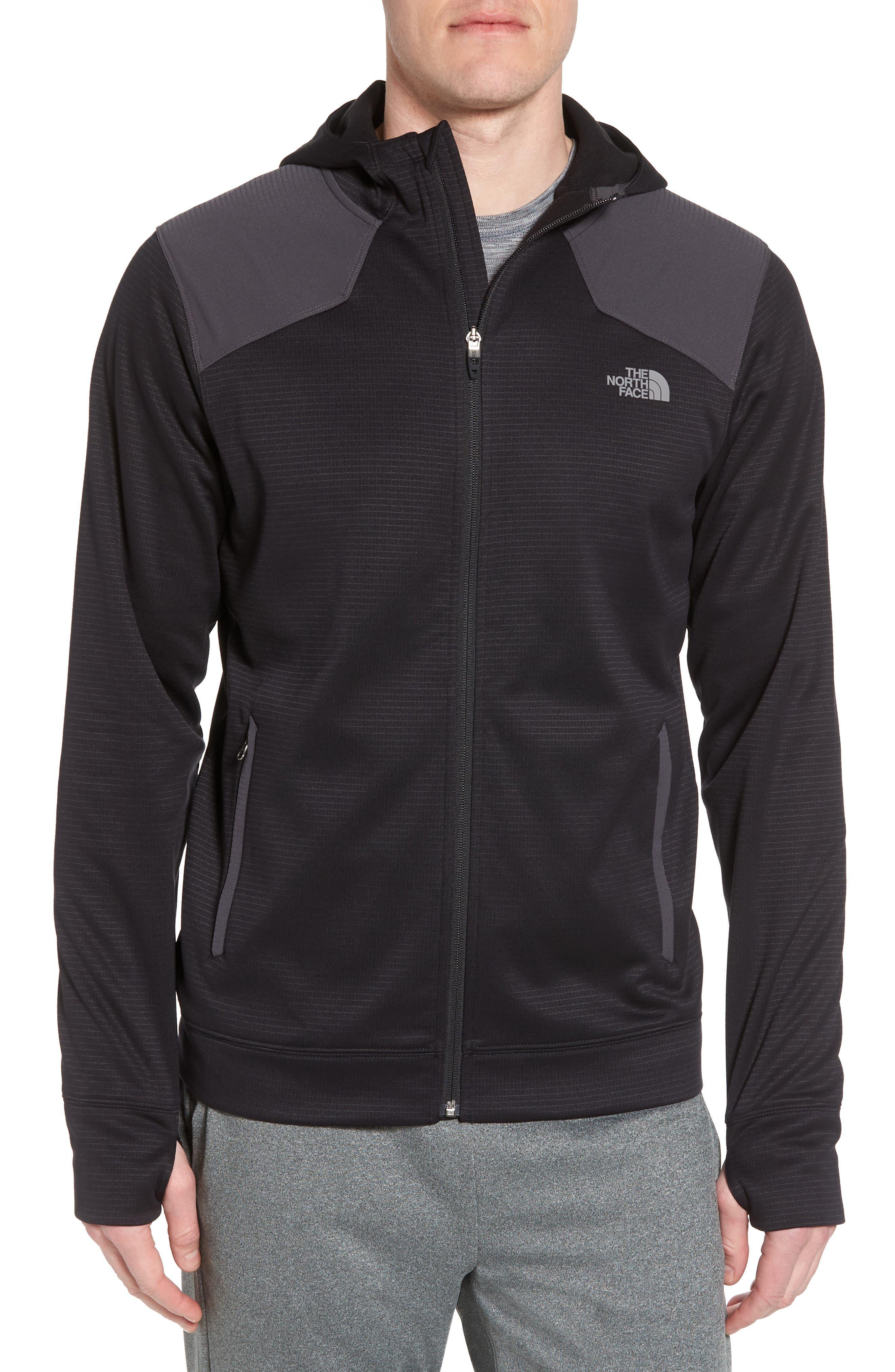 Ampere Zip Front Fleece Hoodie,                         Main,                         color, Black