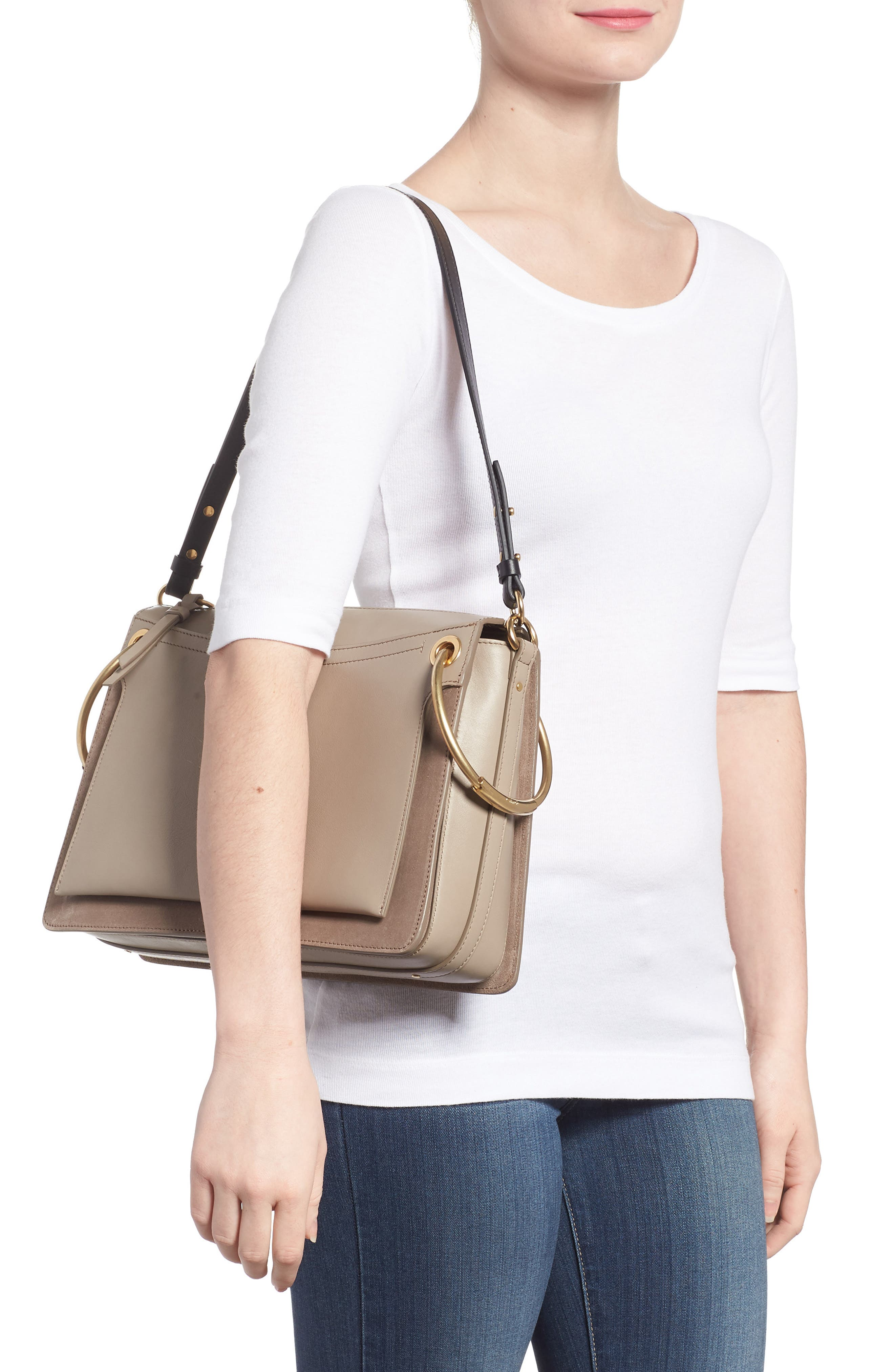 Small Roy Leather Shoulder Bag,                             Alternate thumbnail 2, color,                             Motty Grey