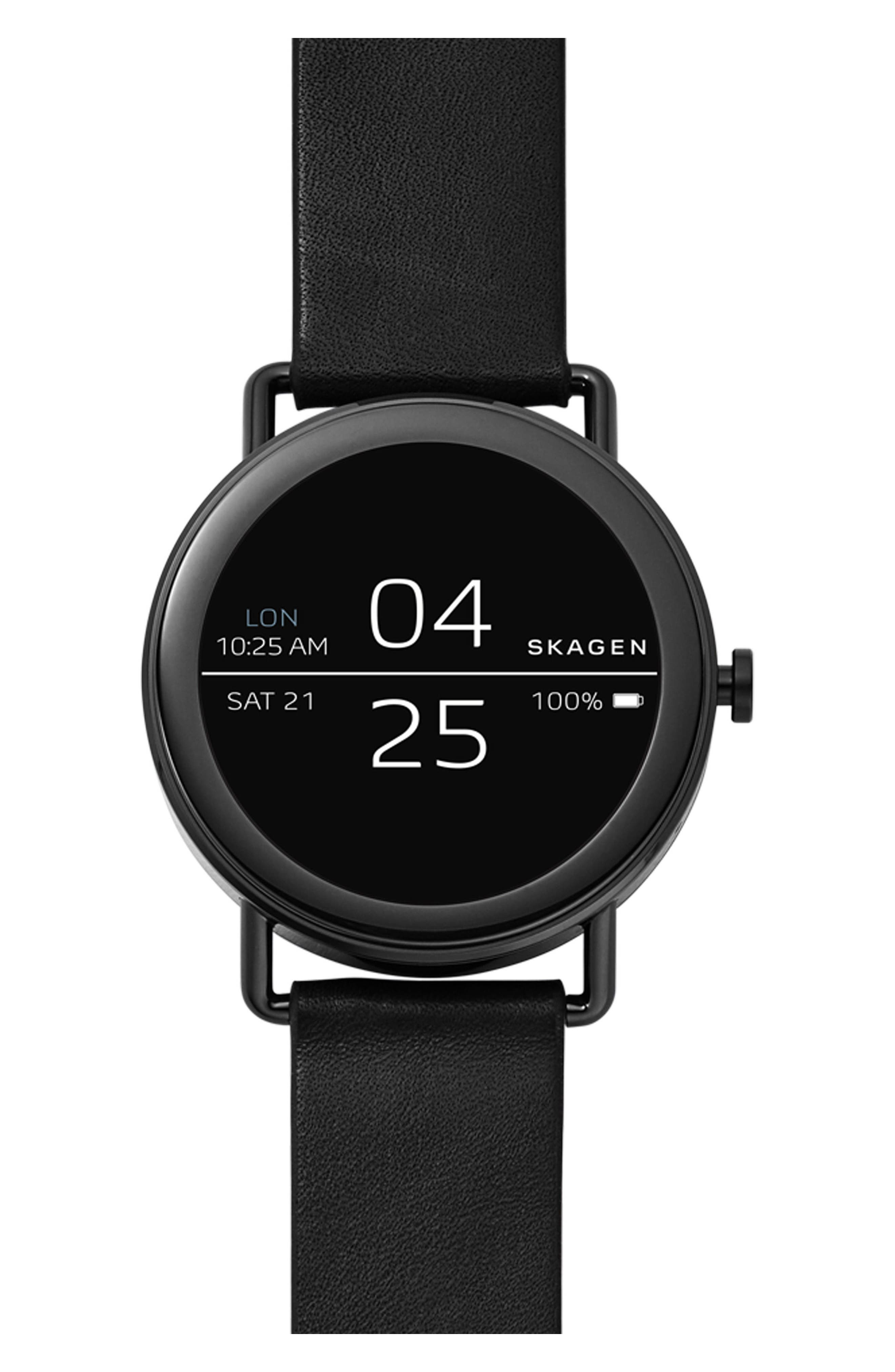 Falster Touchscreen Leather Strap Smart Watch, 42mm,                             Main thumbnail 1, color,                             Black