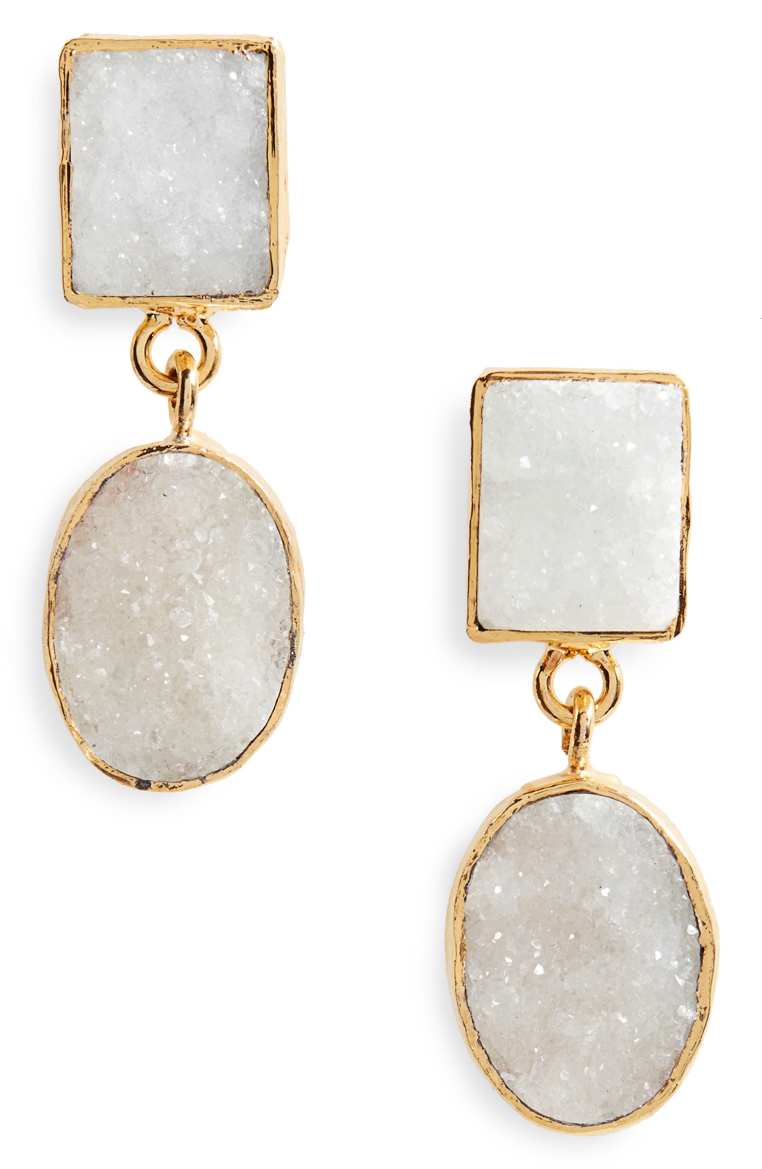 Double Drusy Drop Earrings,                             Main thumbnail 1, color,                             White