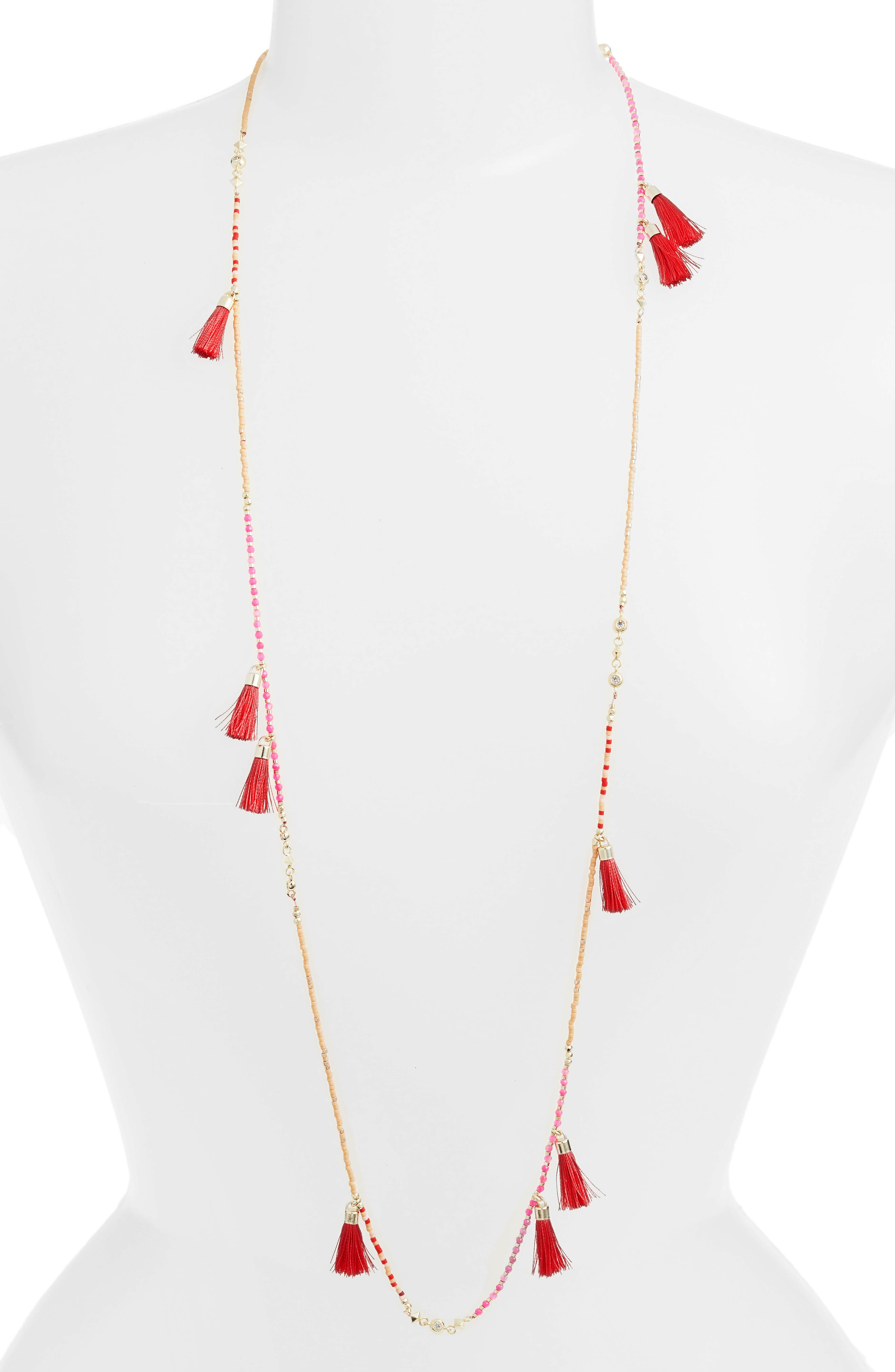 Augusta Tassel Necklace,                         Main,                         color, Pink Mix/ Gold