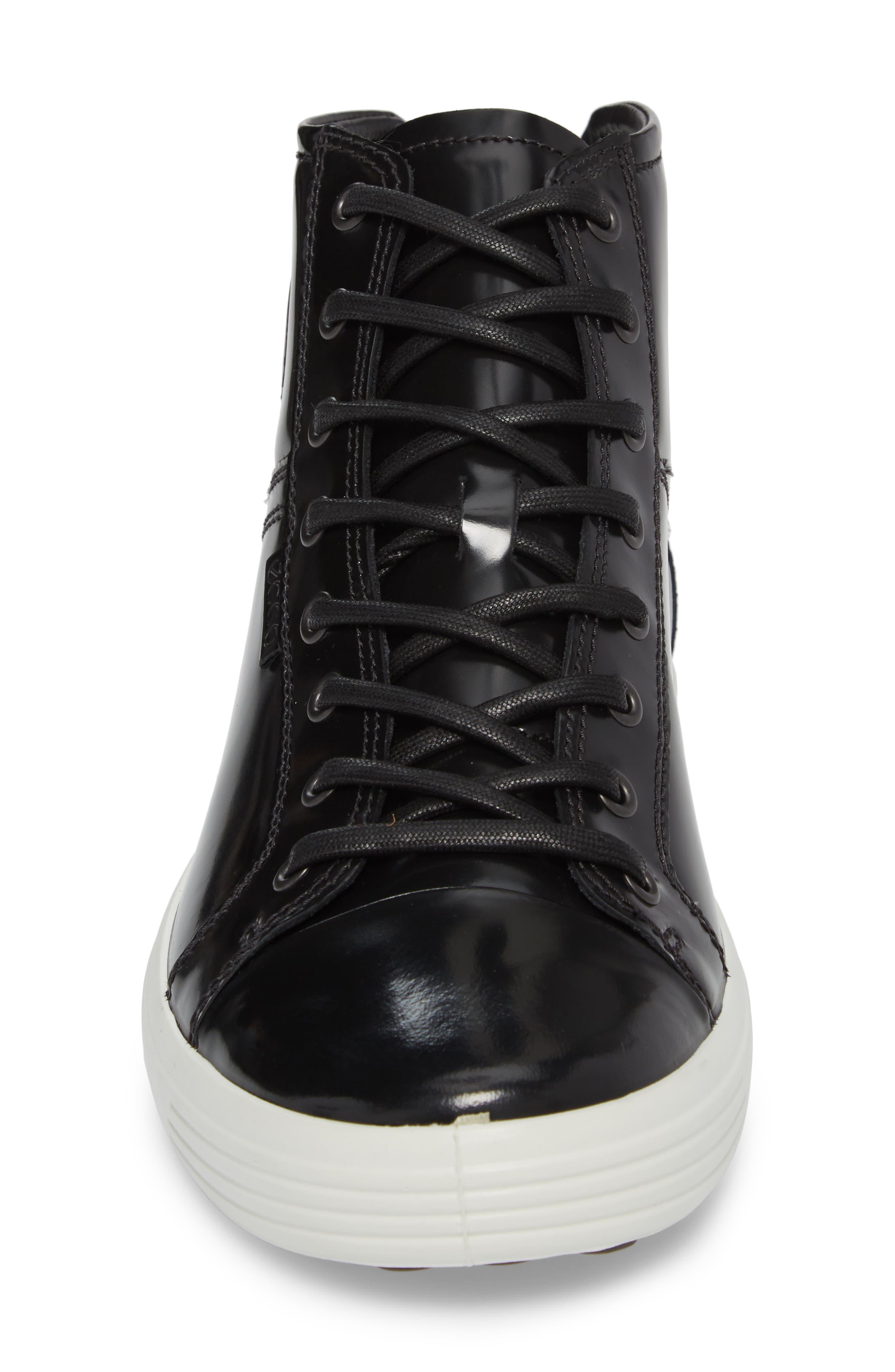 Soft 7 Premium High Top Sneaker,                             Alternate thumbnail 4, color,                             Black Leather