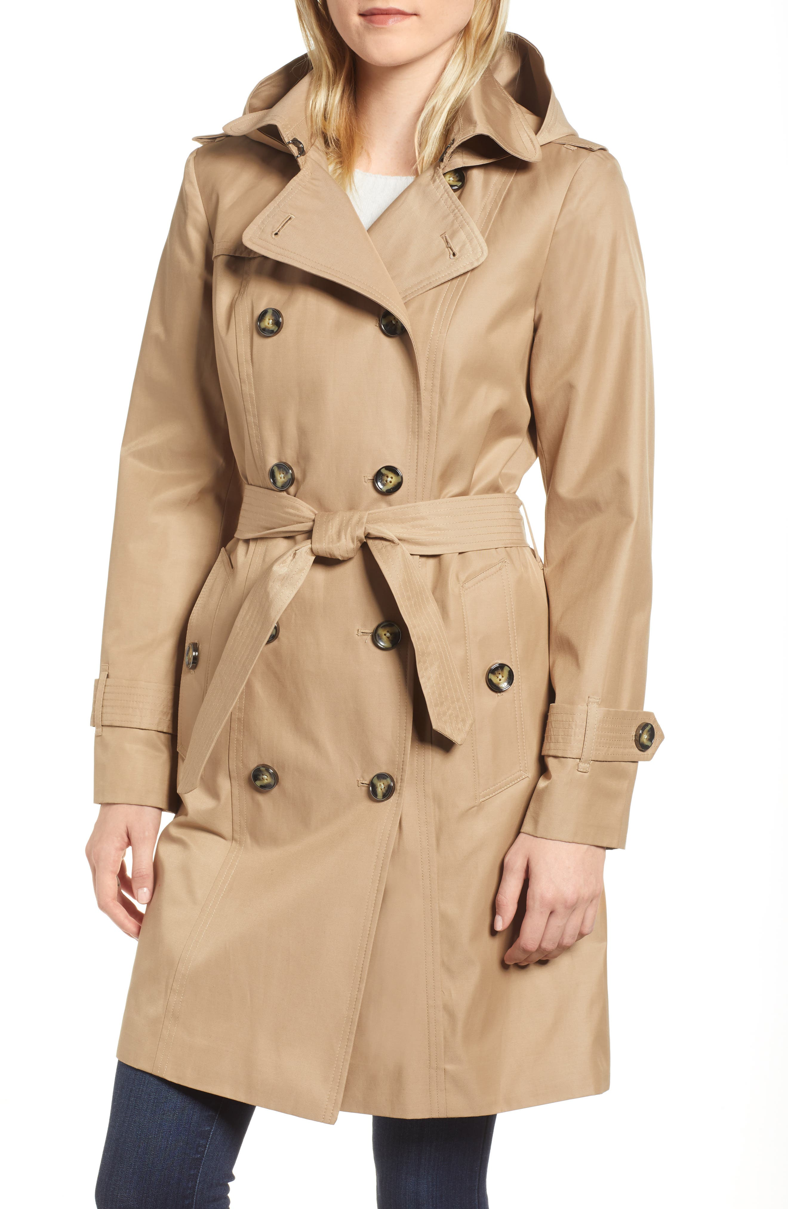 Double Breasted Trench Coat,                             Main thumbnail 1, color,                             Br Khaki