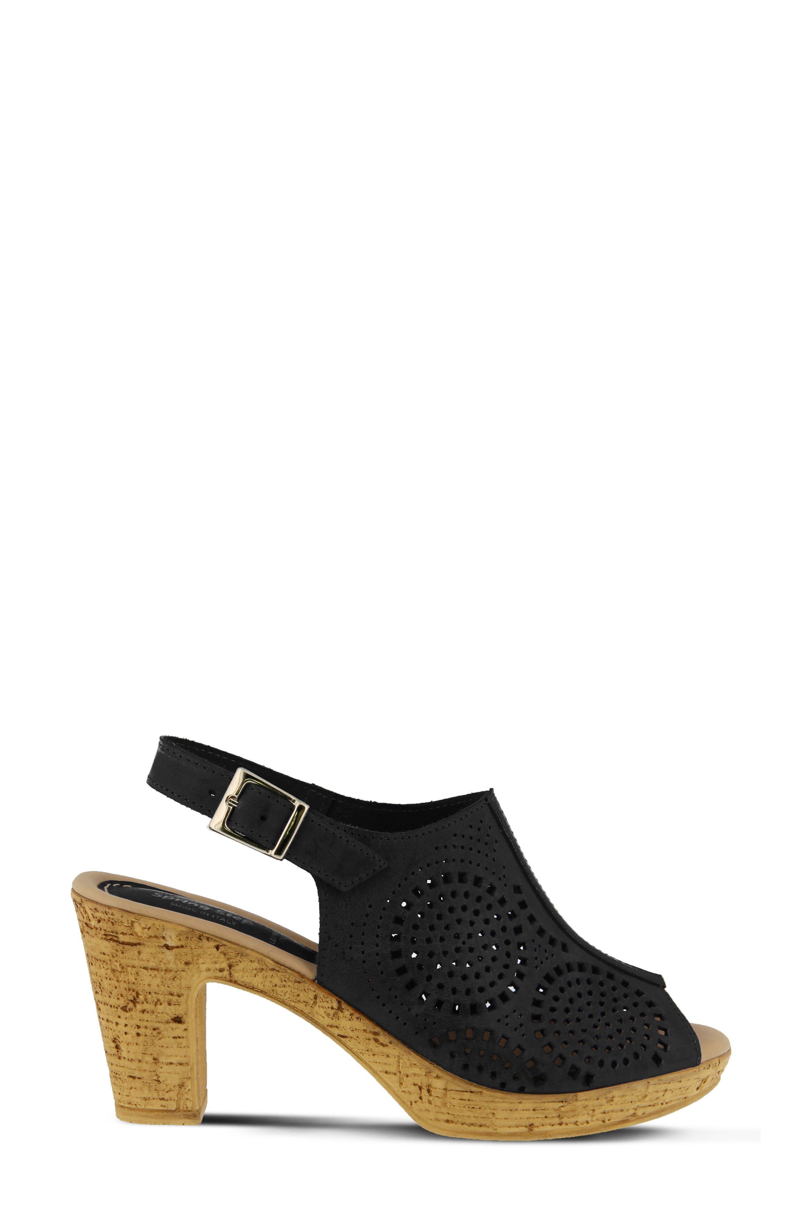 Liberty Platform Sandal,                             Alternate thumbnail 3, color,                             Black Leather