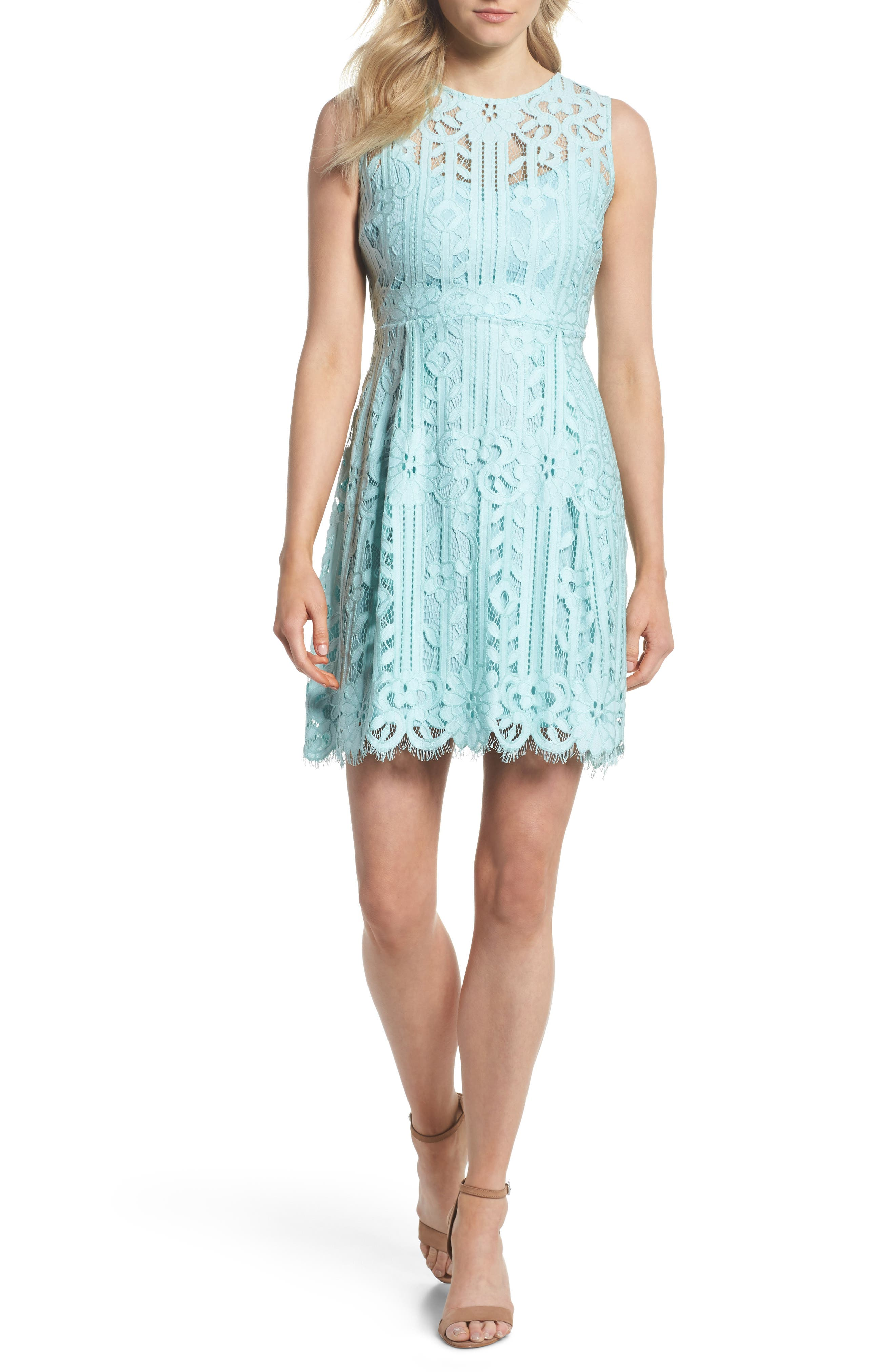 Sleeveless Lace Dress,                         Main,                         color, Mint