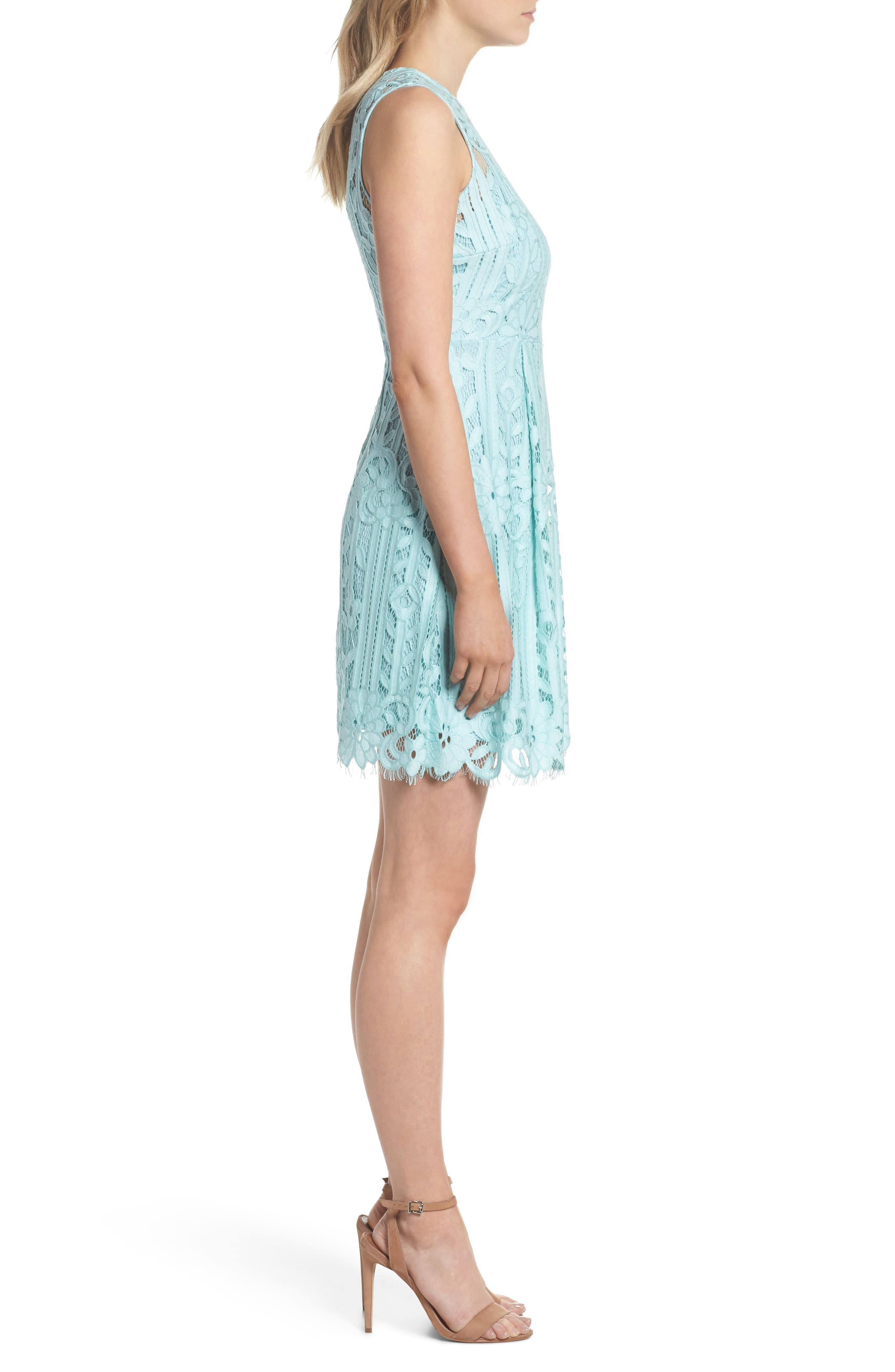 Sleeveless Lace Dress,                             Alternate thumbnail 3, color,                             Mint