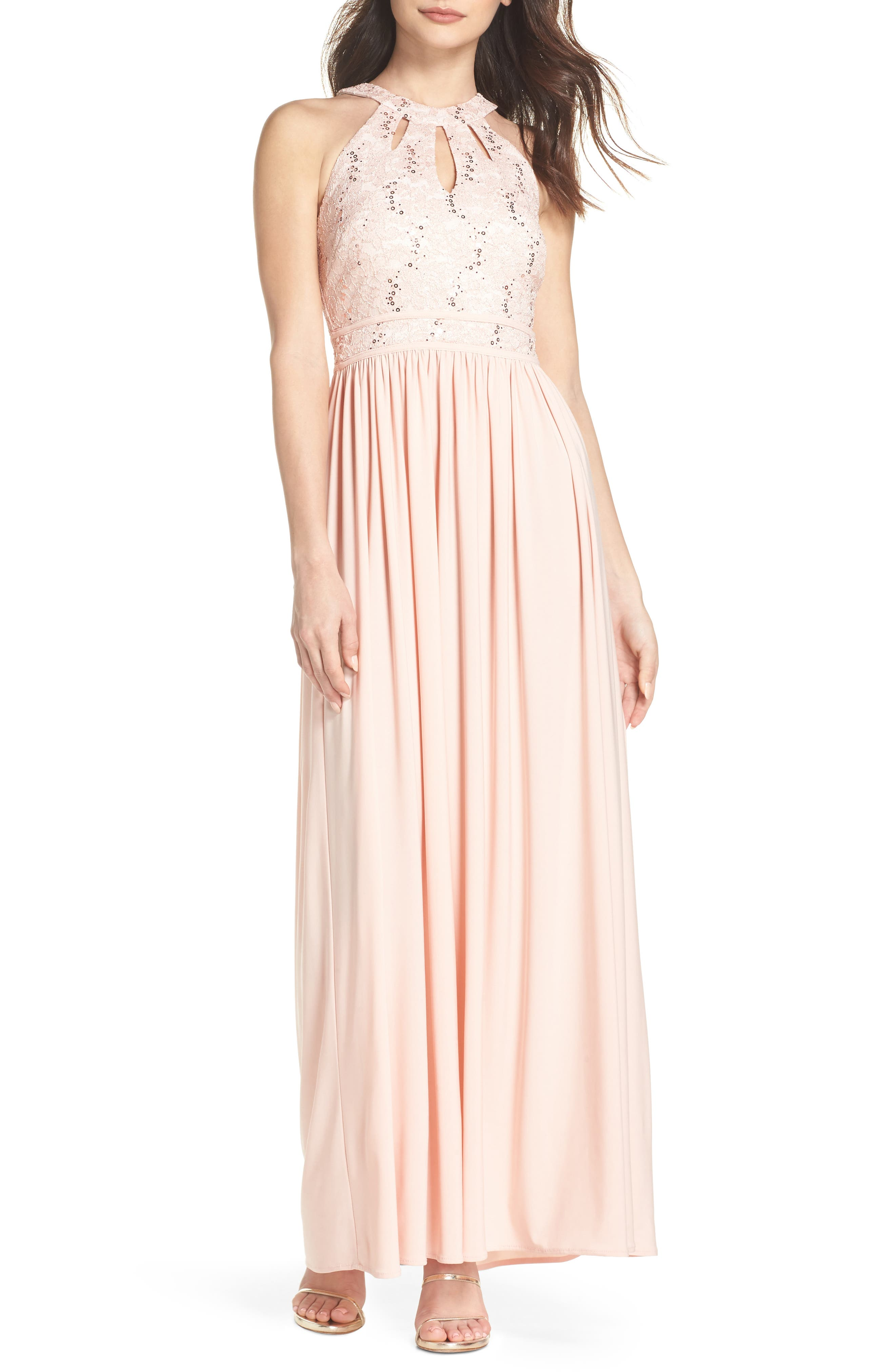 Lace Bodice Keyhole Gown,                             Main thumbnail 1, color,                             Blush/ Ivory