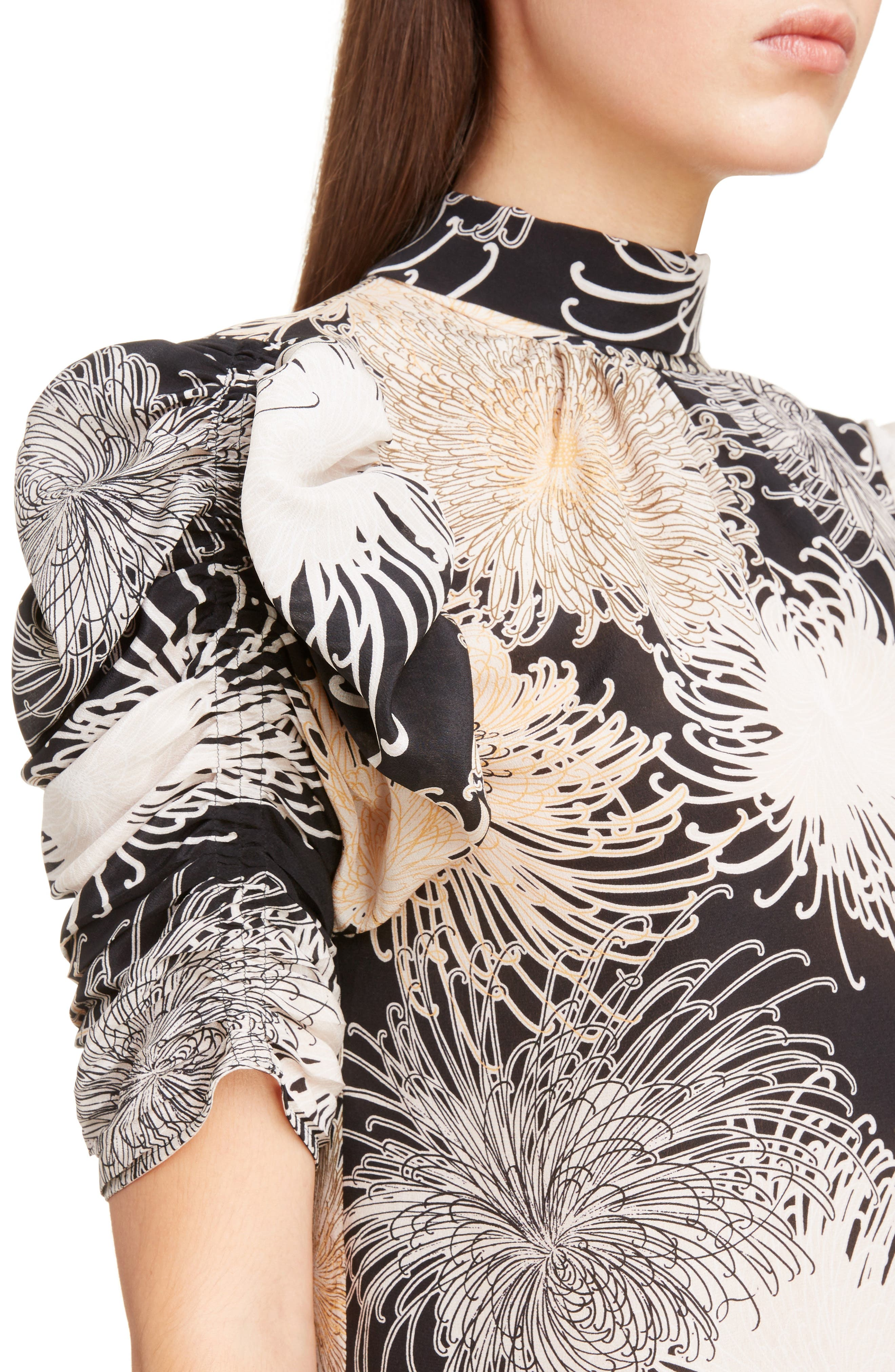 Nº21 Floral Print Tie Back Silk Top,                             Alternate thumbnail 4, color,                             Black