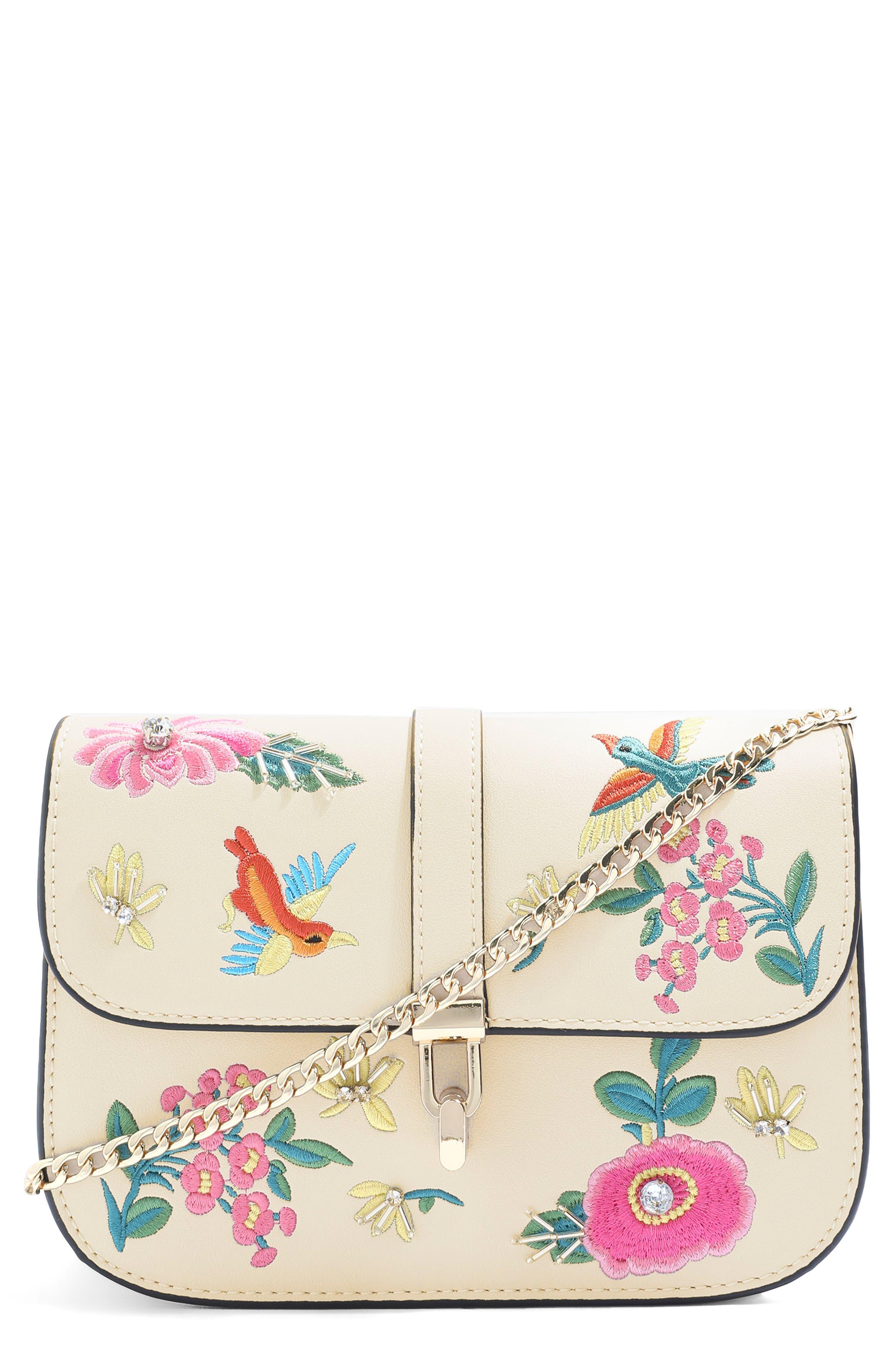 Hummingbird Embroidered Crossbody Bag,                             Main thumbnail 1, color,                             Cream Multi
