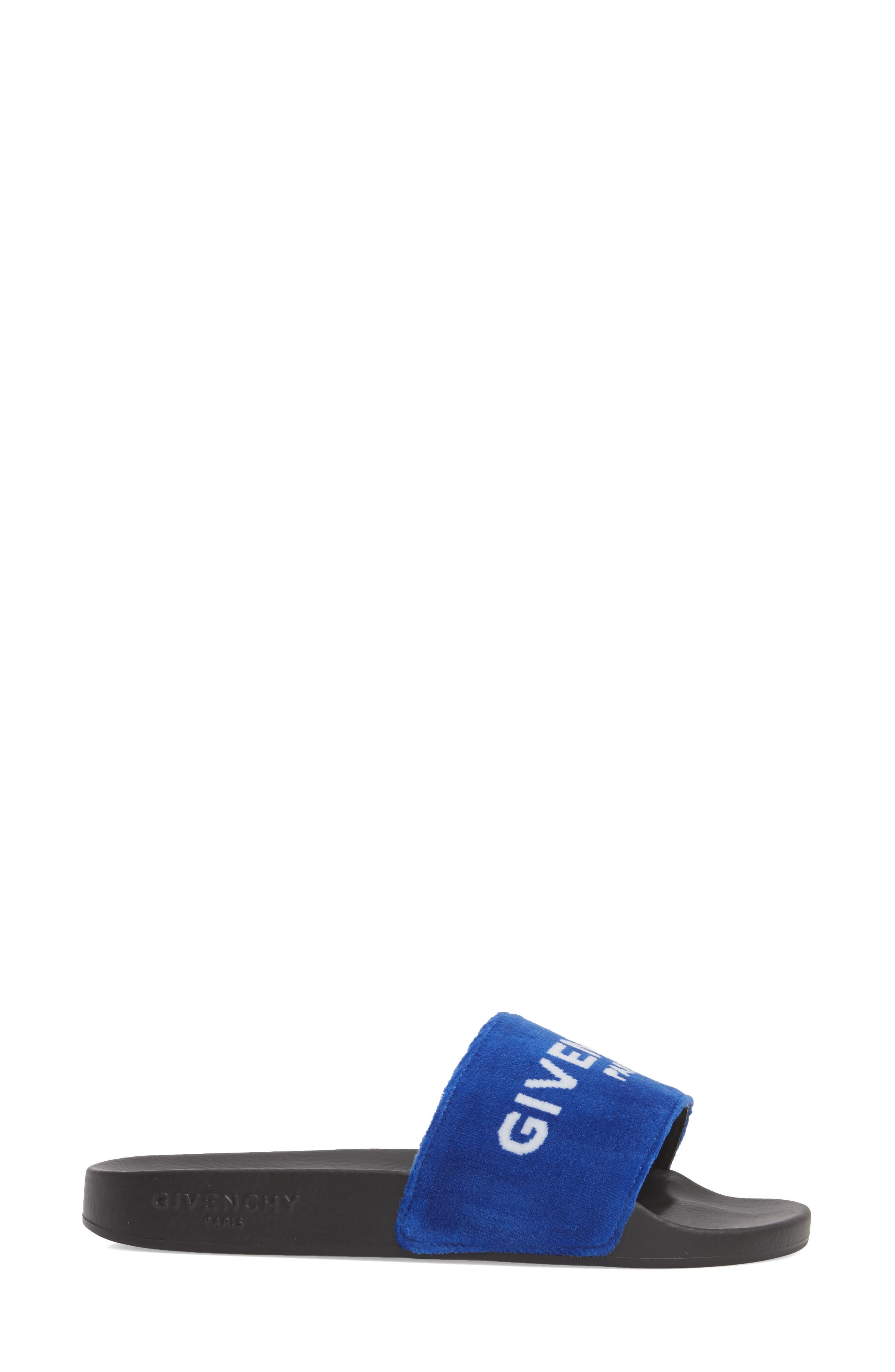 Logo Slide Sandal,                             Alternate thumbnail 3, color,                             Electric Blue