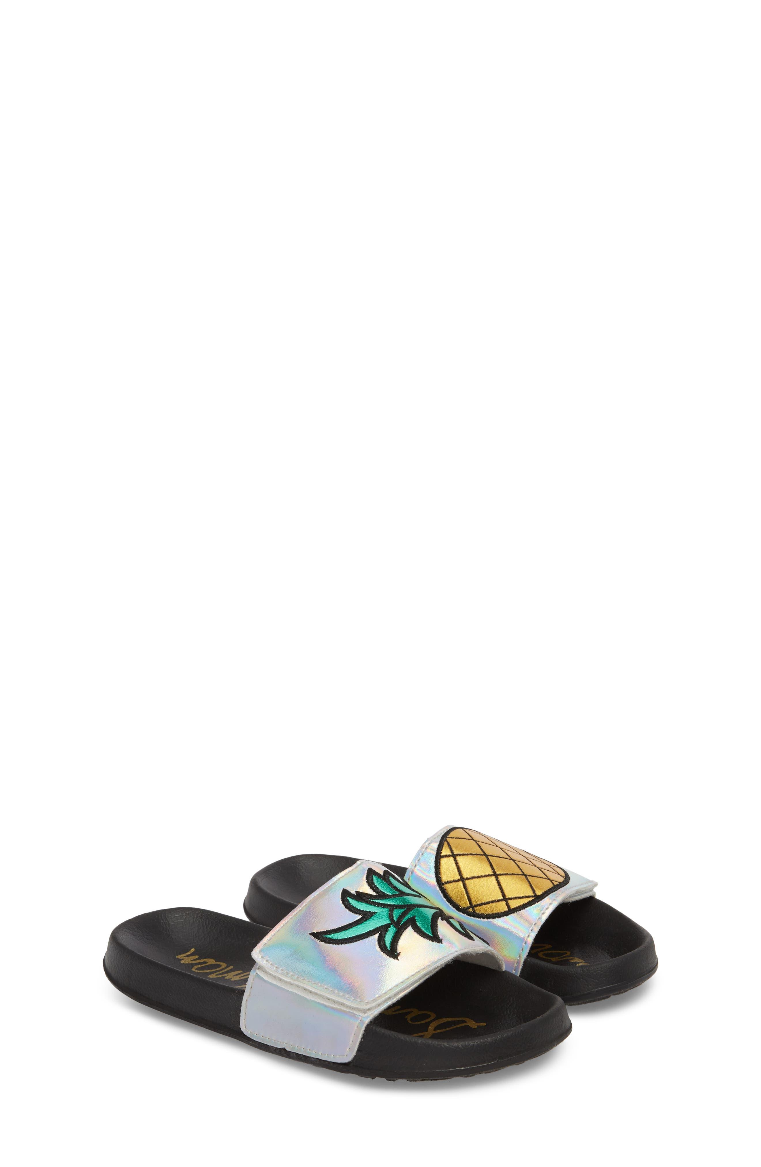 Mackie Pineapple Metallic Slide Sandal,                             Alternate thumbnail 2, color,                             Silver Holographic Leather