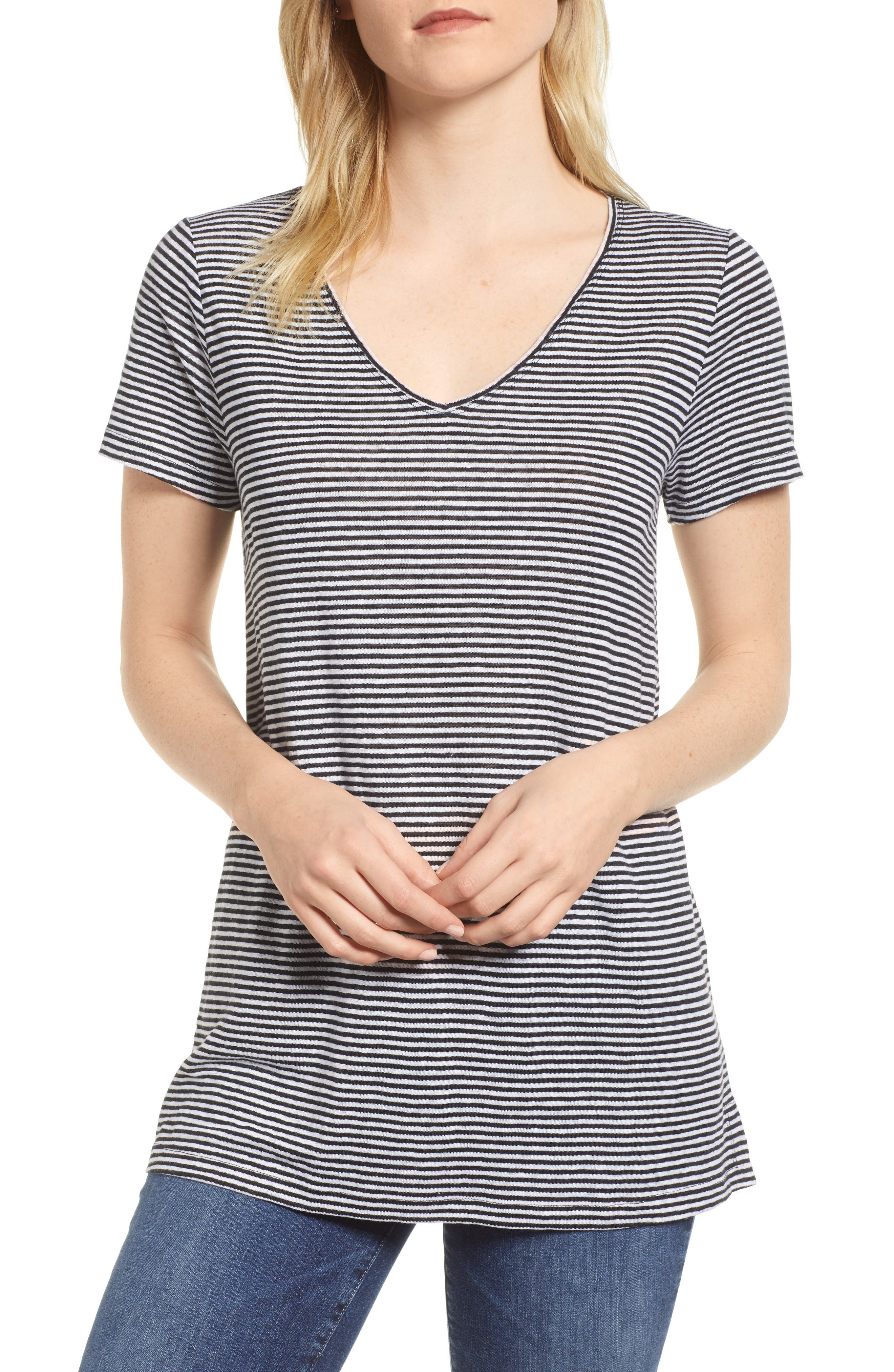 Stripe Long Organic Linen Top,                             Main thumbnail 1, color,                             Black/ White