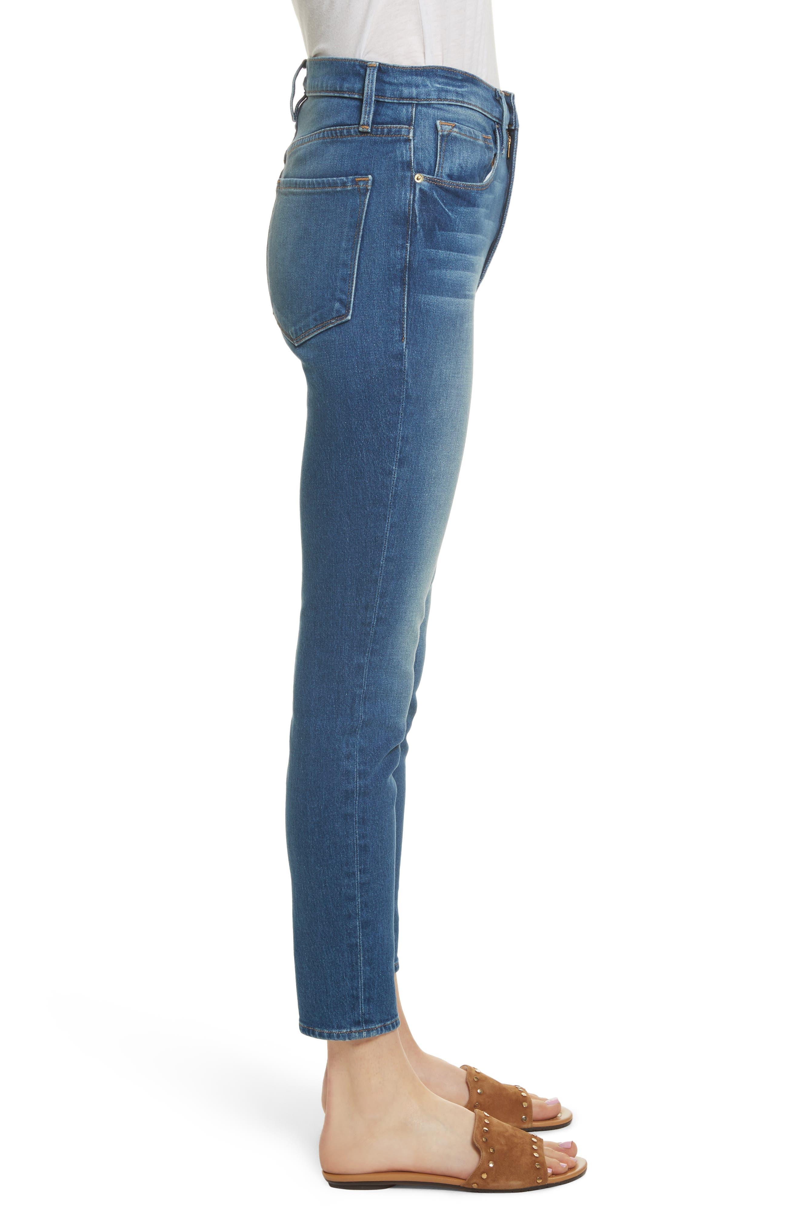 Ali High Waist Skinny Cigarette Jeans,                             Alternate thumbnail 4, color,                             Olympus