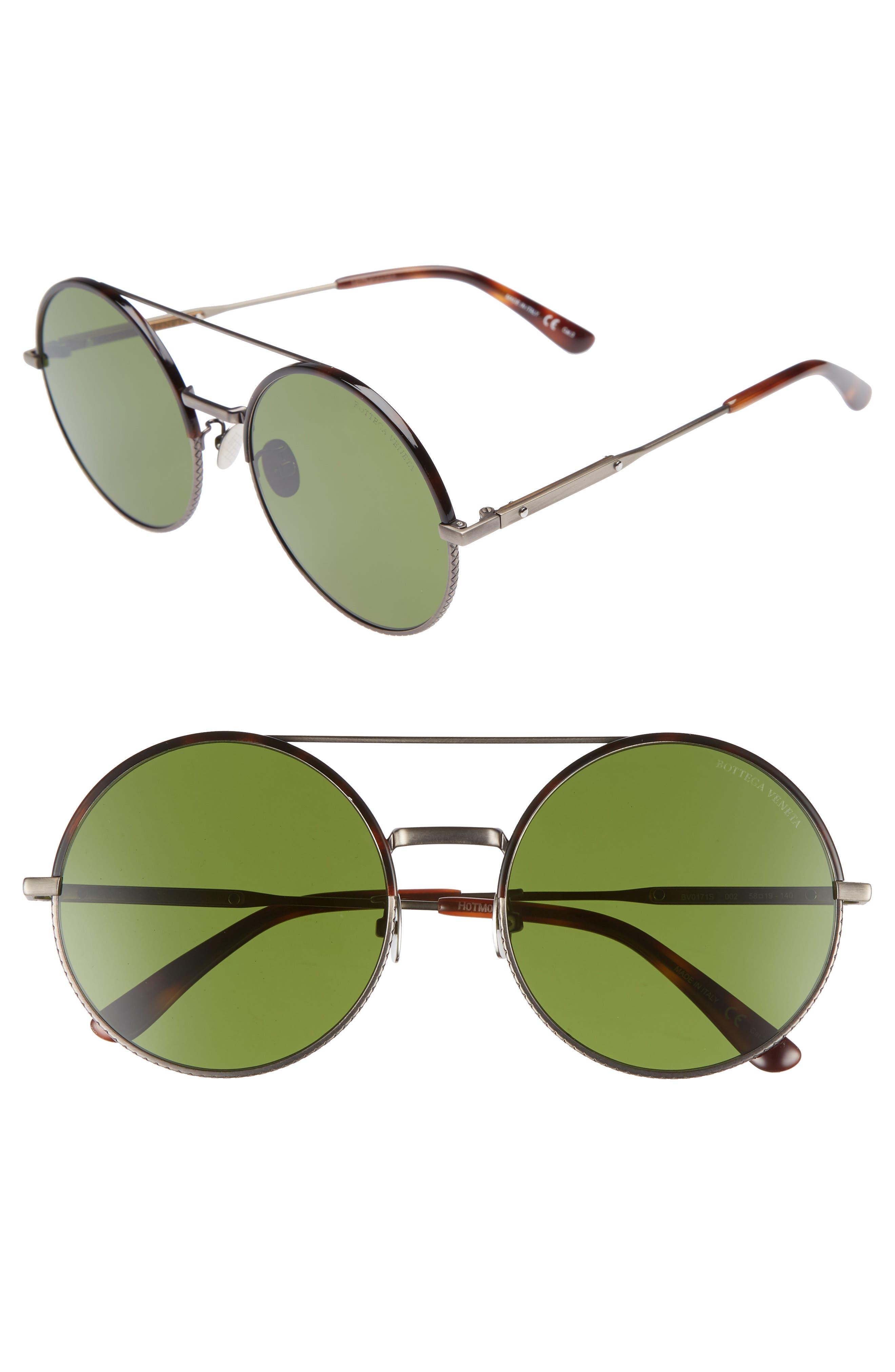 Bottega Veneta 58mm Round Aviator Sunglasses