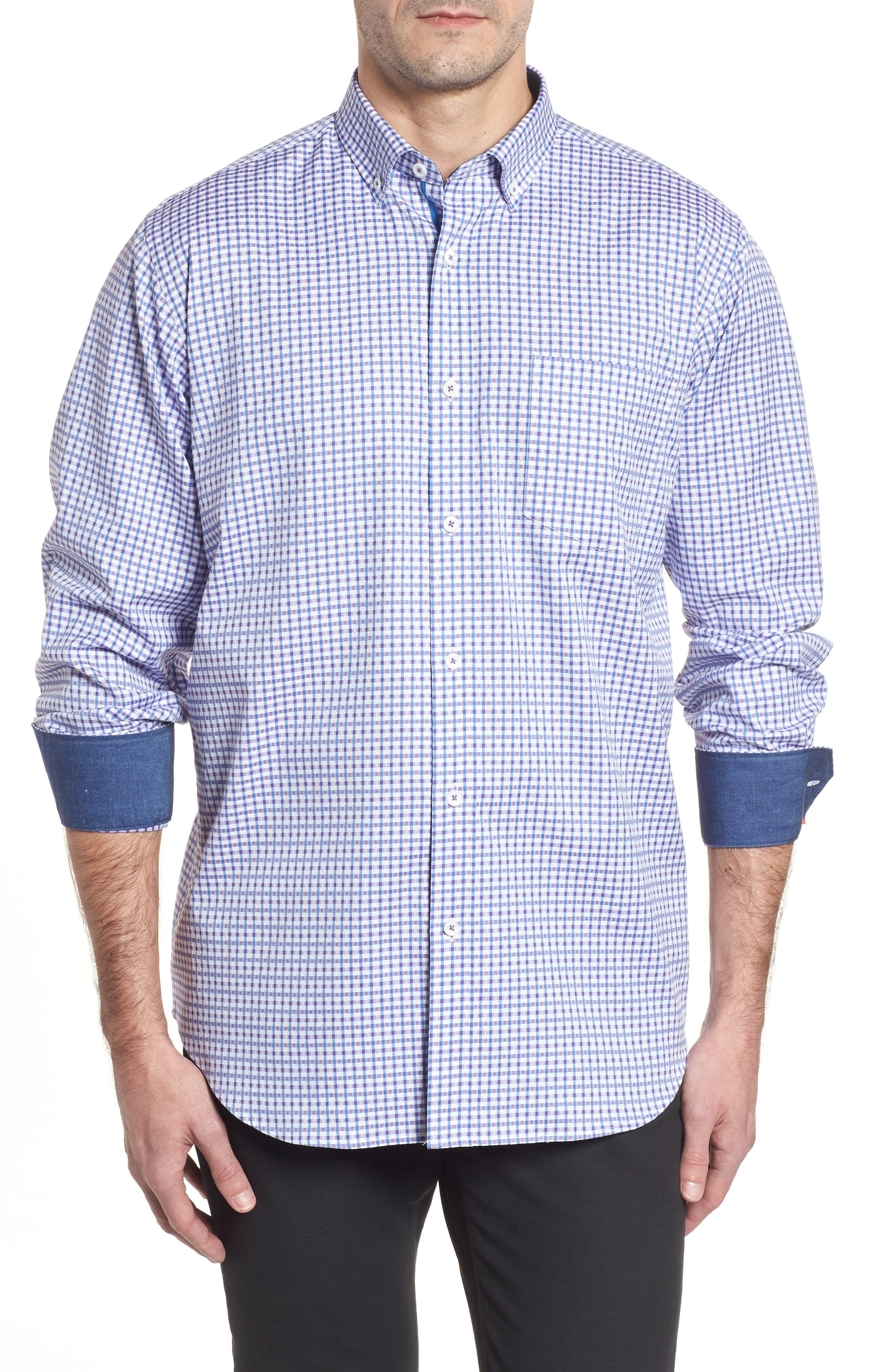 Classic Fit Microcheck Sport Shirt,                         Main,                         color, Plum