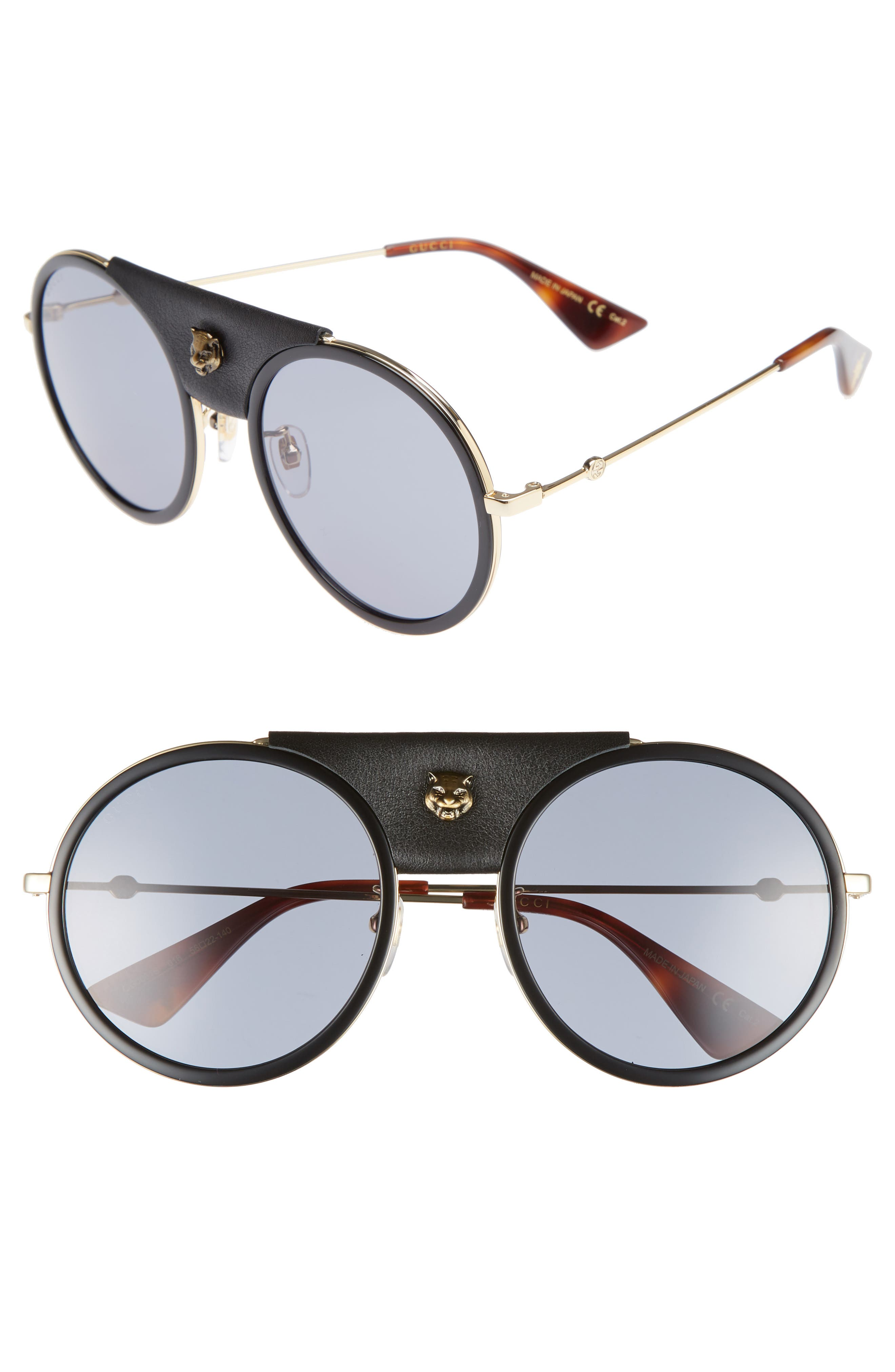 Main Image - Gucci 56mm Leather Bridge Aviator Sunglasses