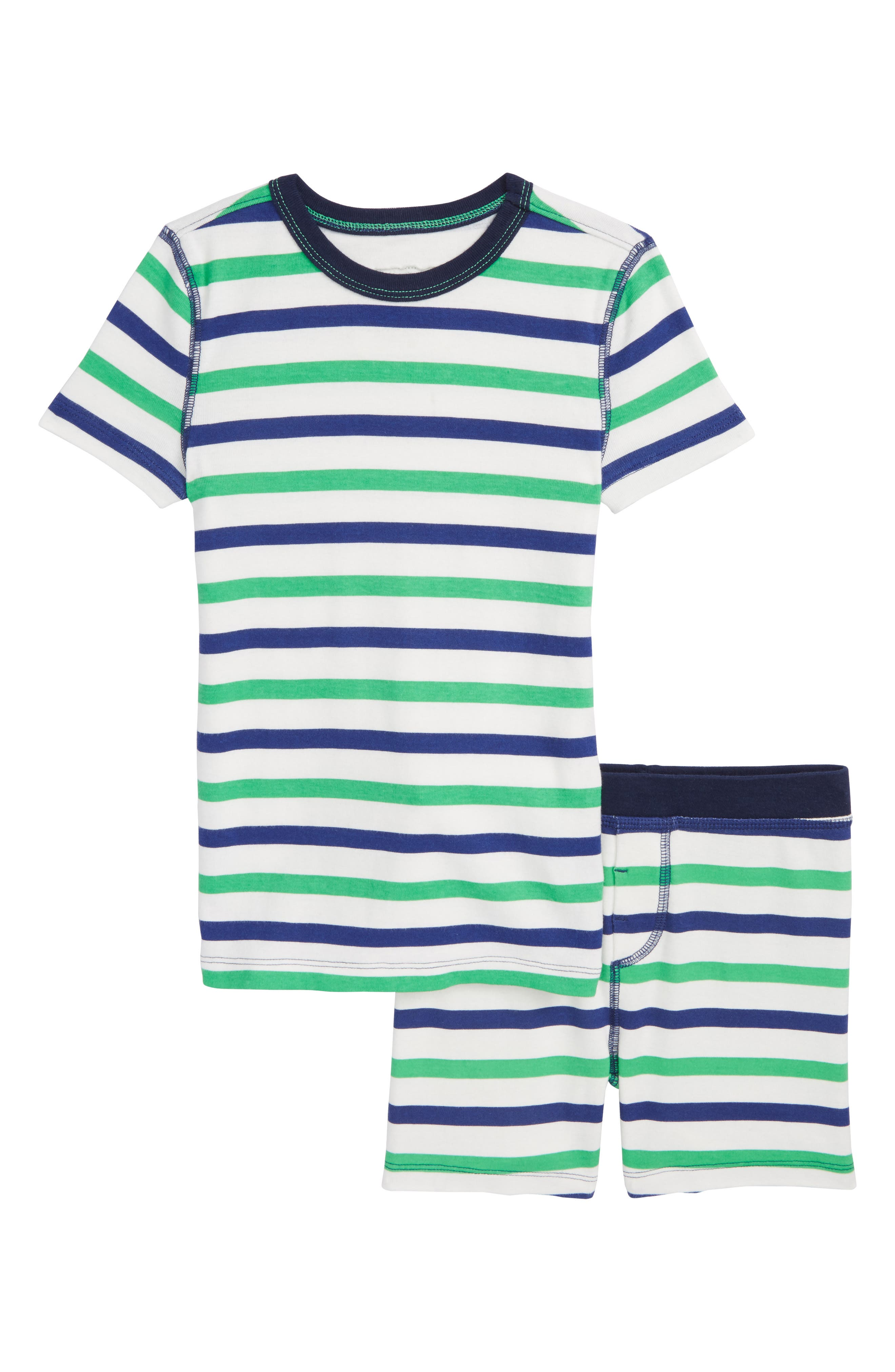 Cabana Stripe Fitted Two-Piece Pajamas,                         Main,                         color, Emerald