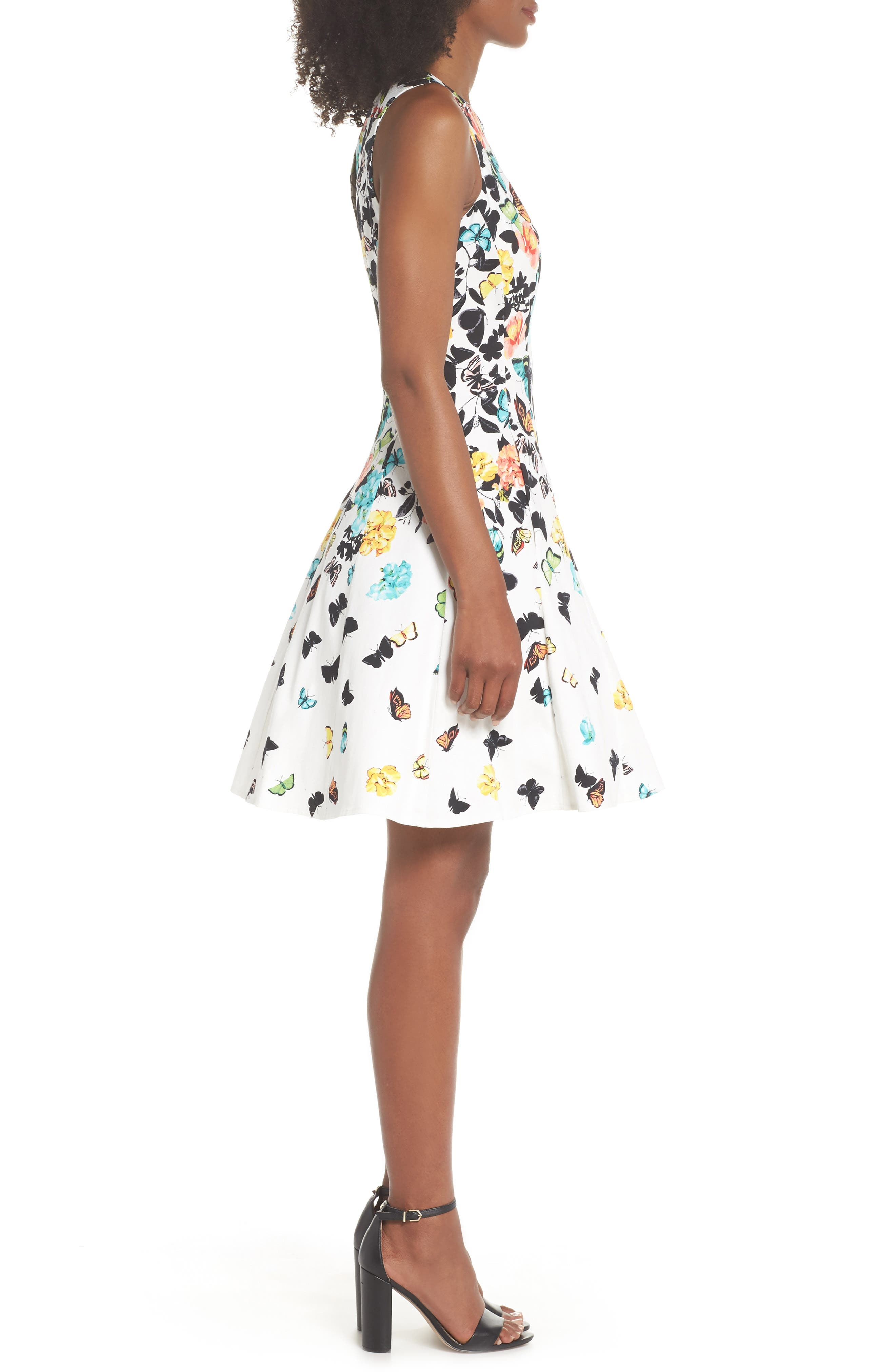 Printed Fit & Flare Dress,                             Alternate thumbnail 3, color,                             Soft White Multi