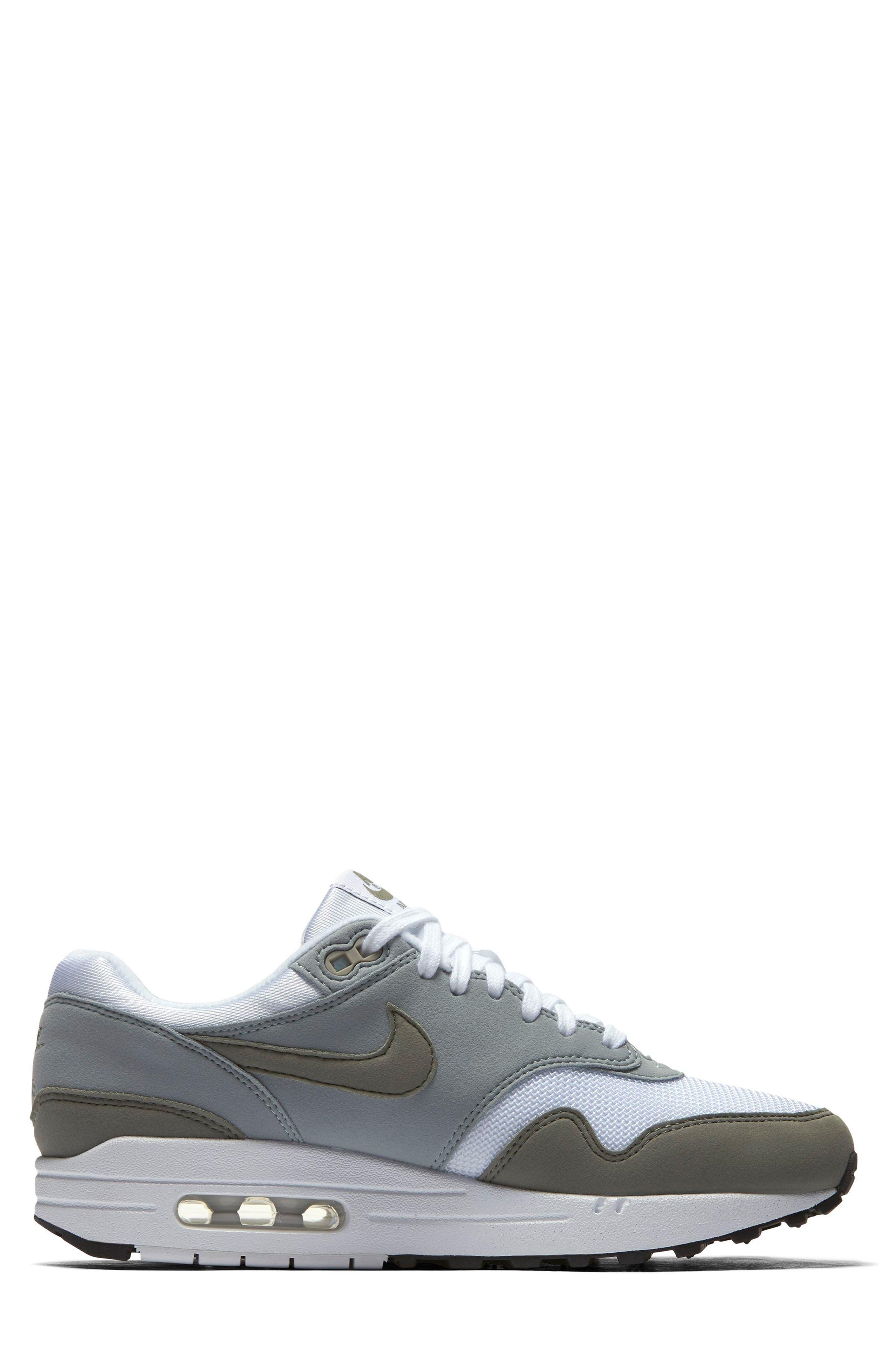 Air Max 1 Sneaker,                             Alternate thumbnail 3, color,                             White/ Dark Stucco