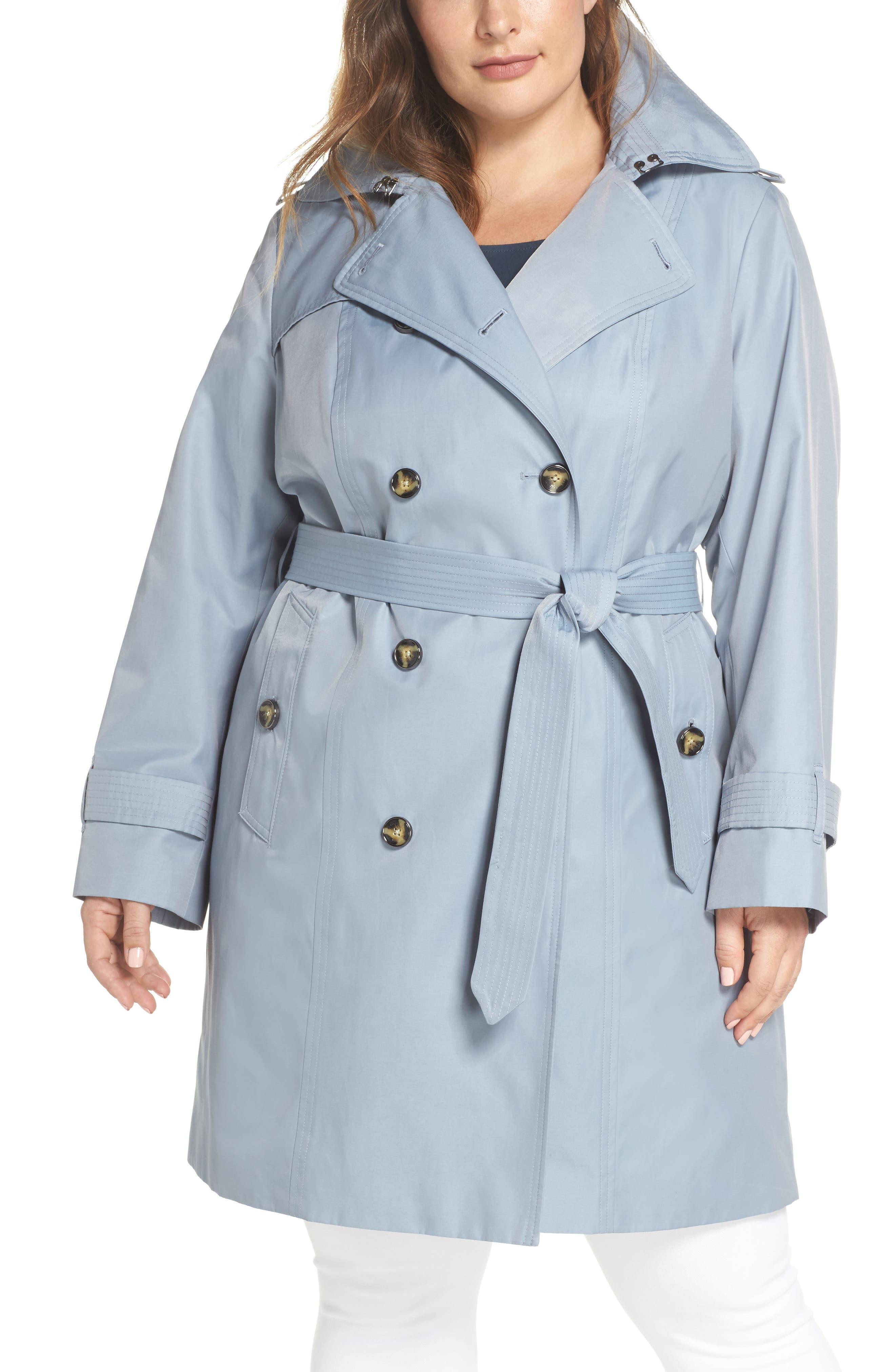 London Fog Hooded Double Breasted Trench Coat (Plus Size)