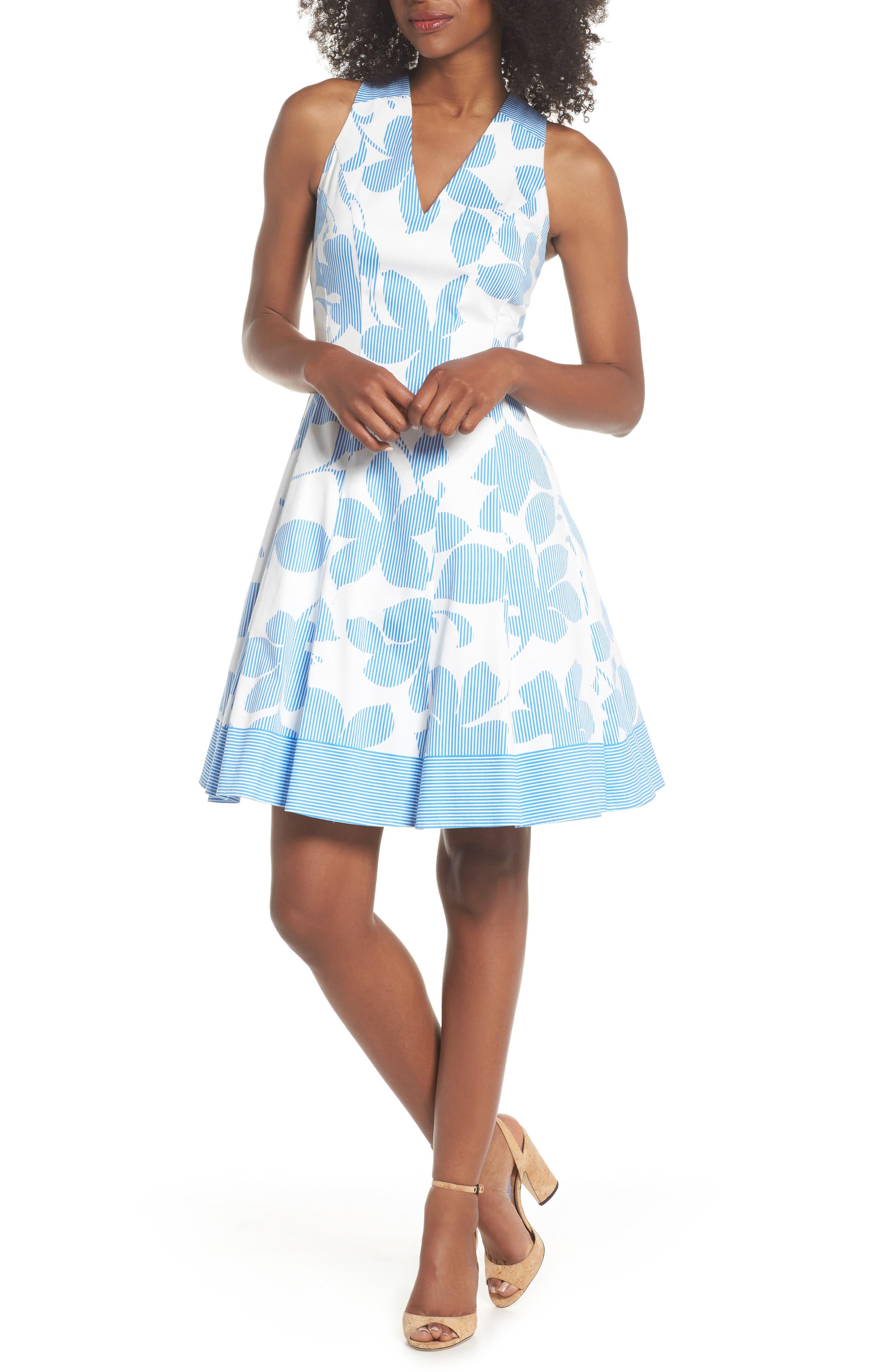Print Fit & Flare Dress,                             Main thumbnail 1, color,                             Soft White/ Sky Blue