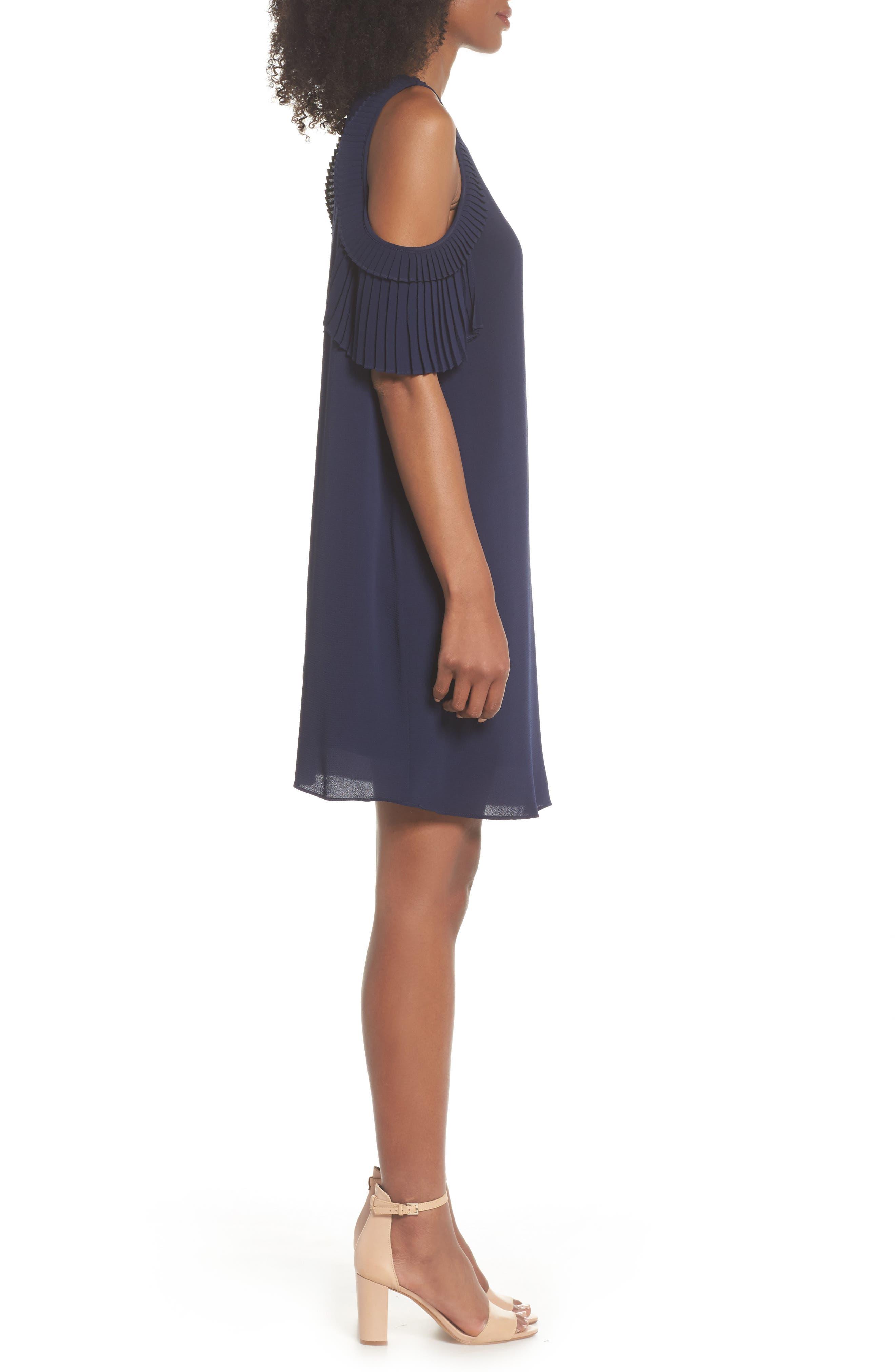 Cold Shoulder Shift Dress,                             Alternate thumbnail 3, color,                             Galaxy Blue