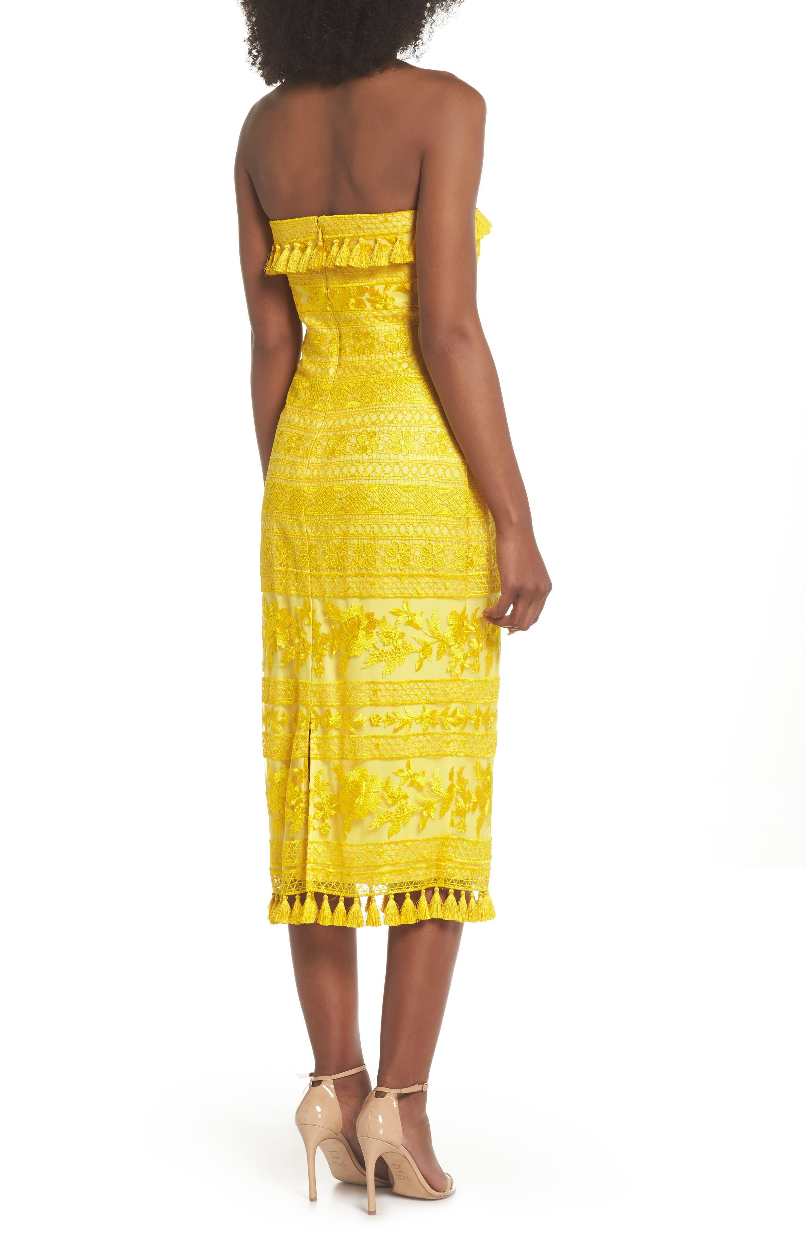 Sol Strapless Lace Midi Dress,                             Alternate thumbnail 2, color,                             Yellow Opal