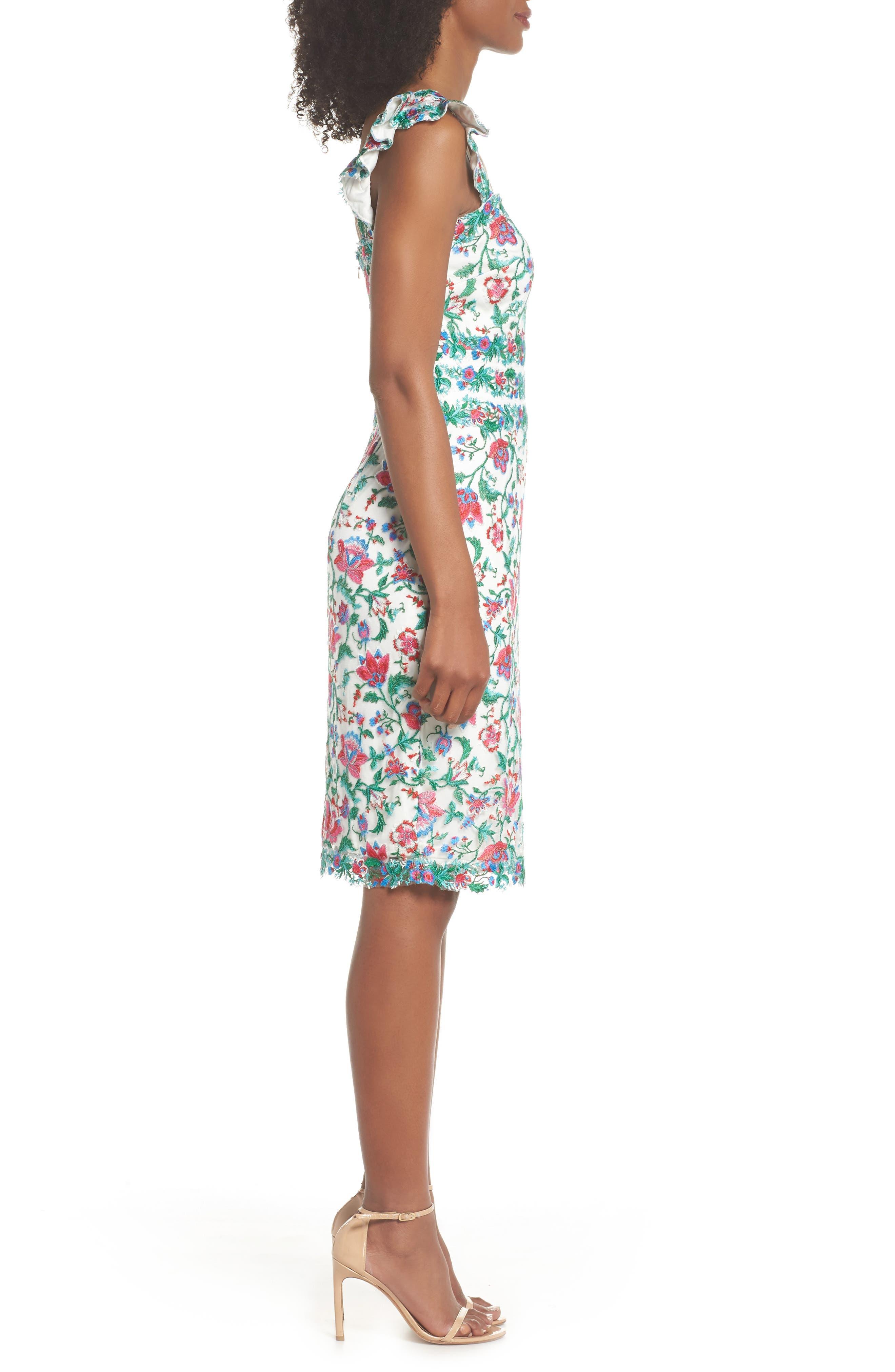 Ximena Embroidered Sheath Dress,                             Alternate thumbnail 3, color,                             White/ Dahlia