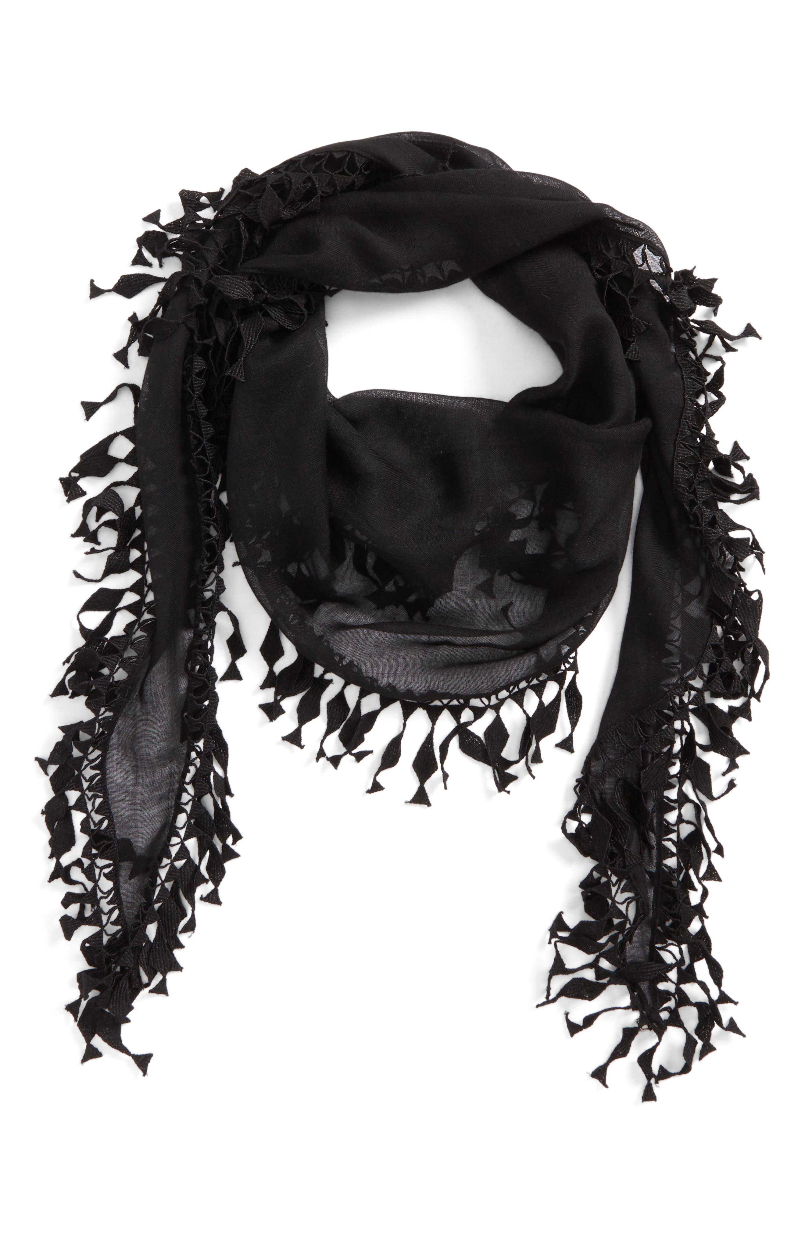 Fringed Cashmere & Silk Scarf,                             Alternate thumbnail 2, color,                             Black