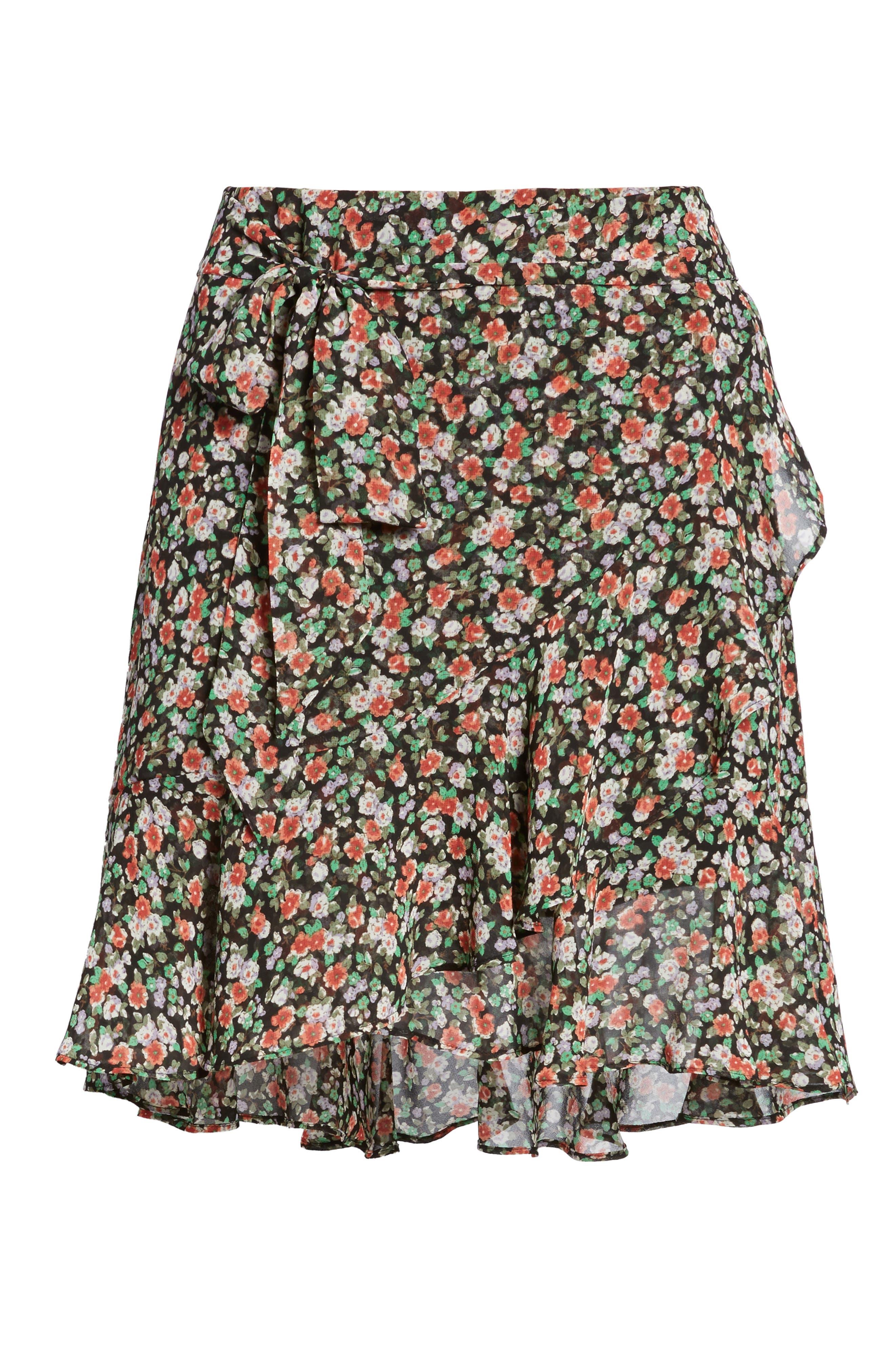 Alice Faux Wrap Skirt,                             Alternate thumbnail 6, color,                             Black Multi
