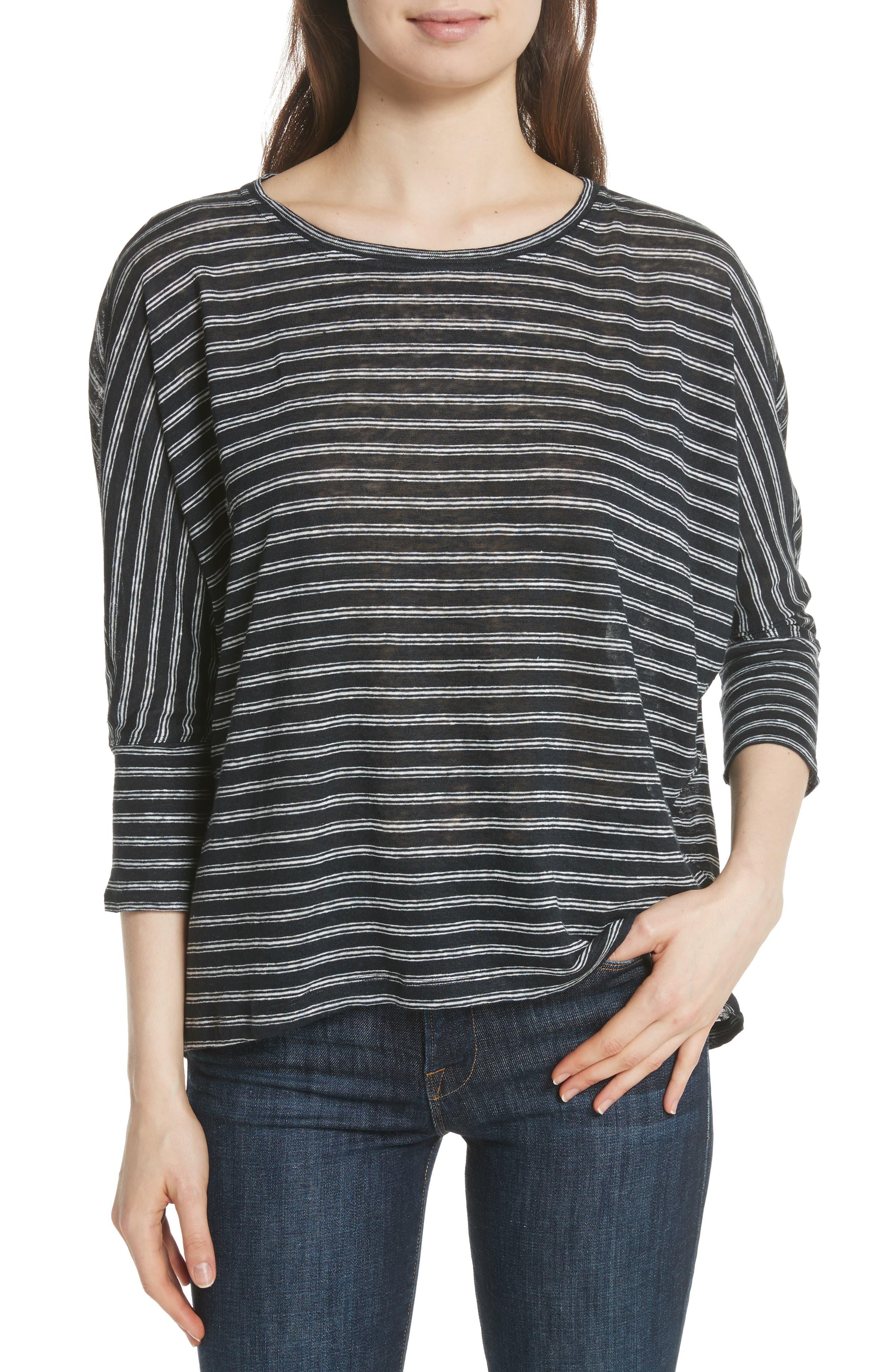 Stripe Linen Knit Top,                             Main thumbnail 1, color,                             Caviar/ Porcelain