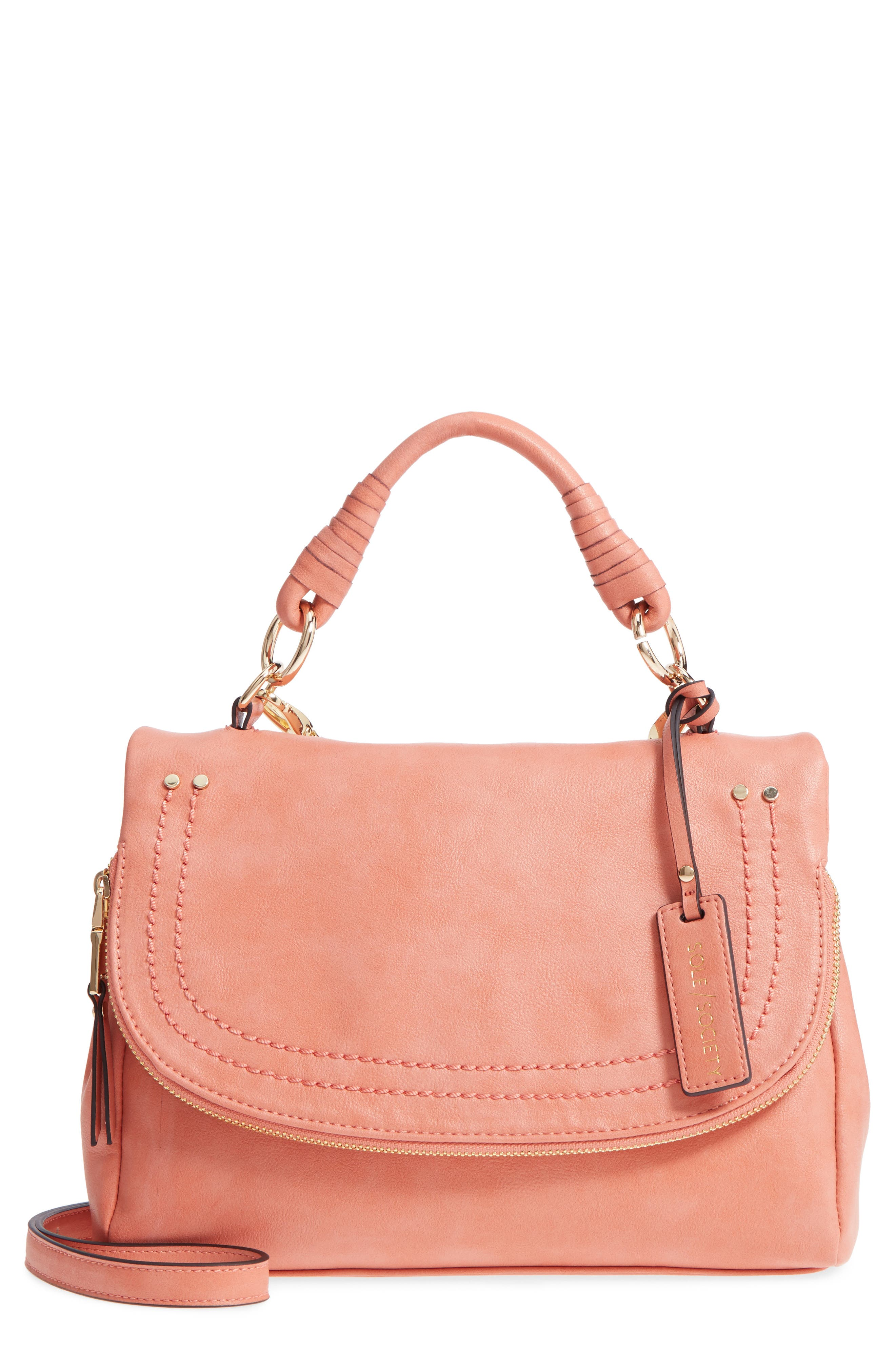 Top Handle Faux Leather Crossbody Bag,                         Main,                         color, Deep Coral