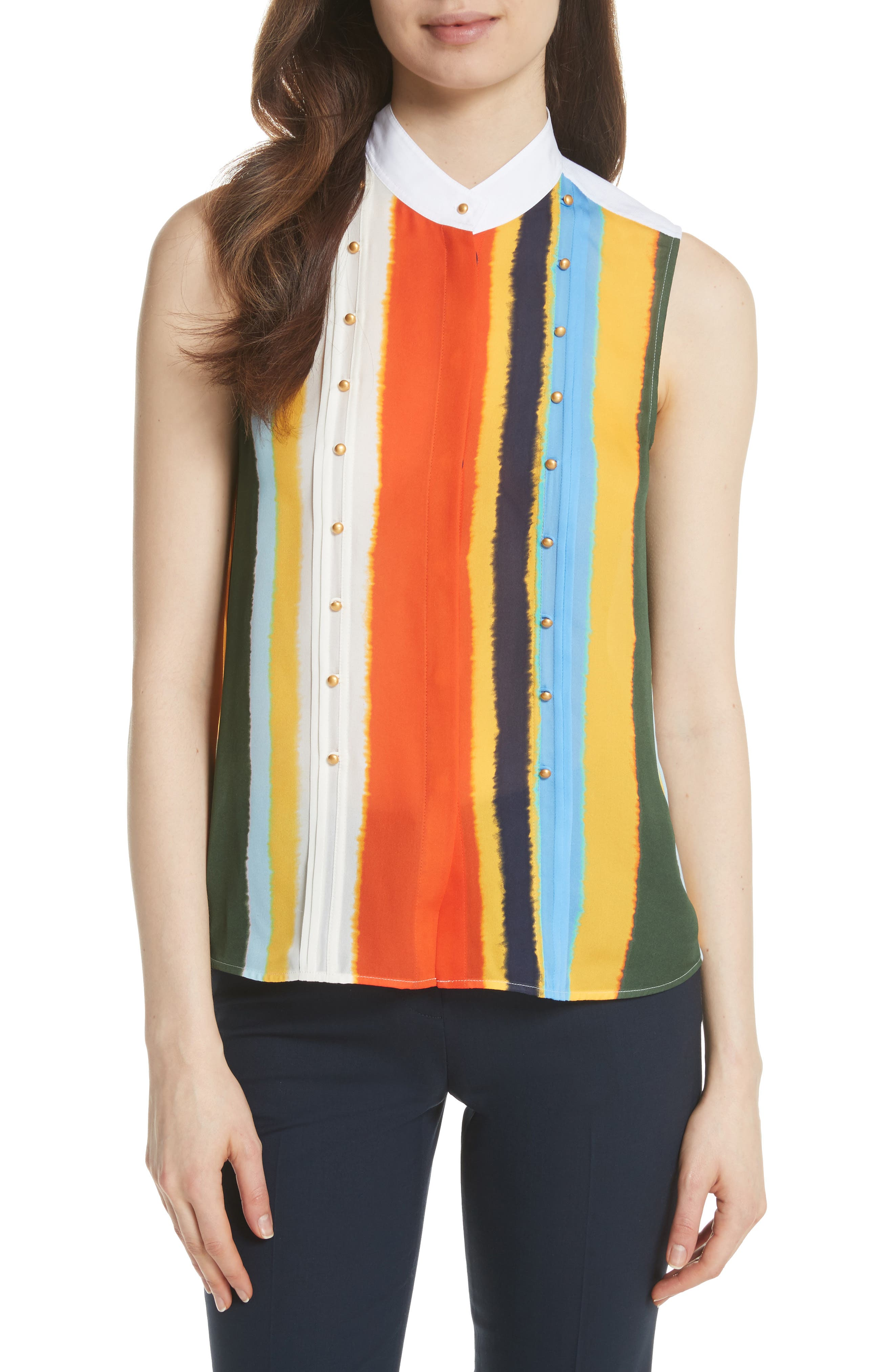 Bettina Studded Silk Georgette Top,                         Main,                         color, Balloon Stripe