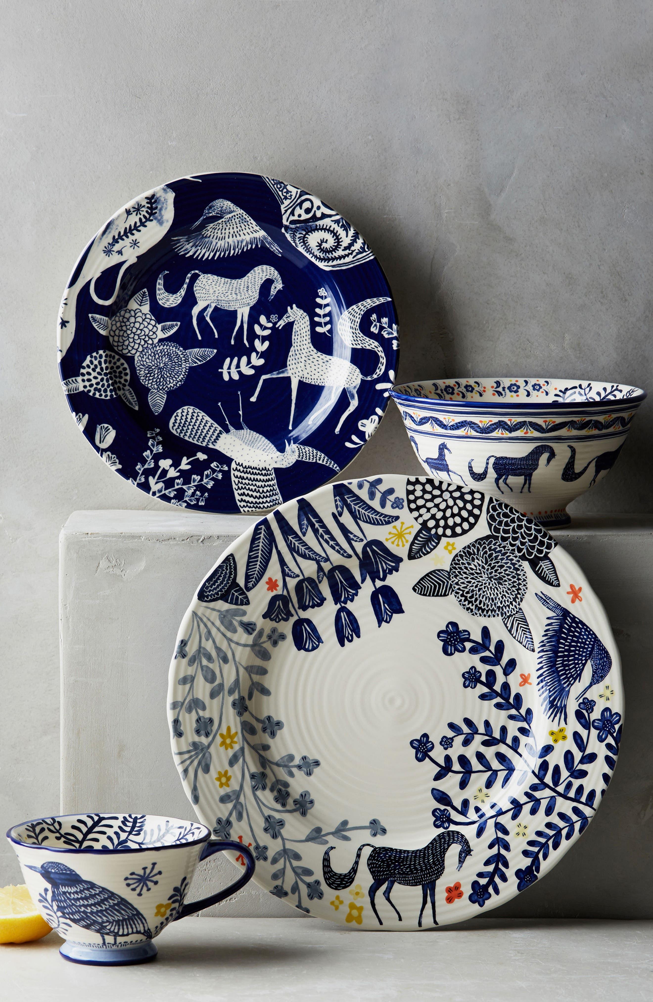 Saga Ceramic Side Plate,                             Alternate thumbnail 2, color,                             Dark Blue